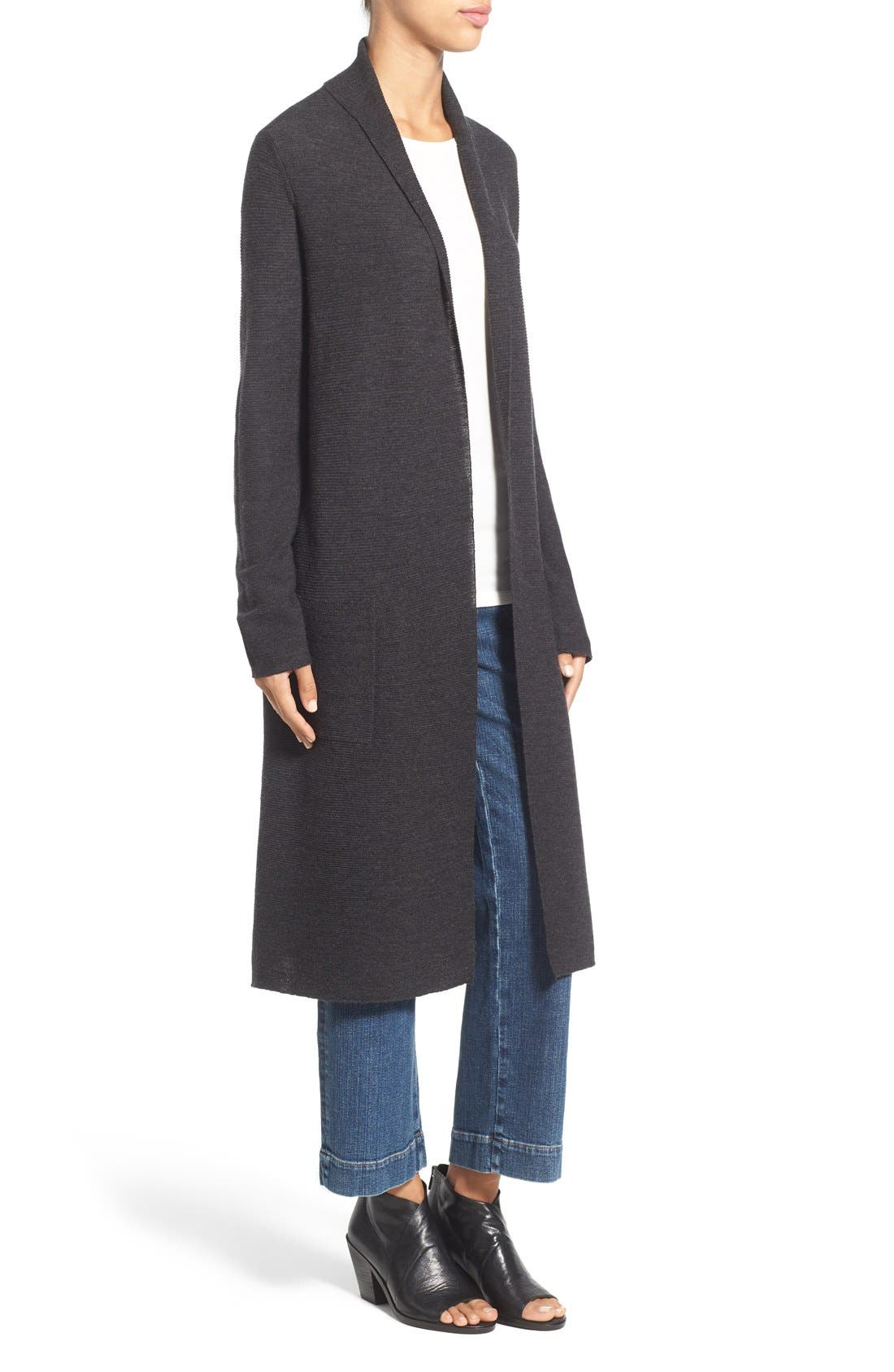 Alternate Image 3  - Eileen Fisher Ribbed Merino Wool Open Front Long Cardigan