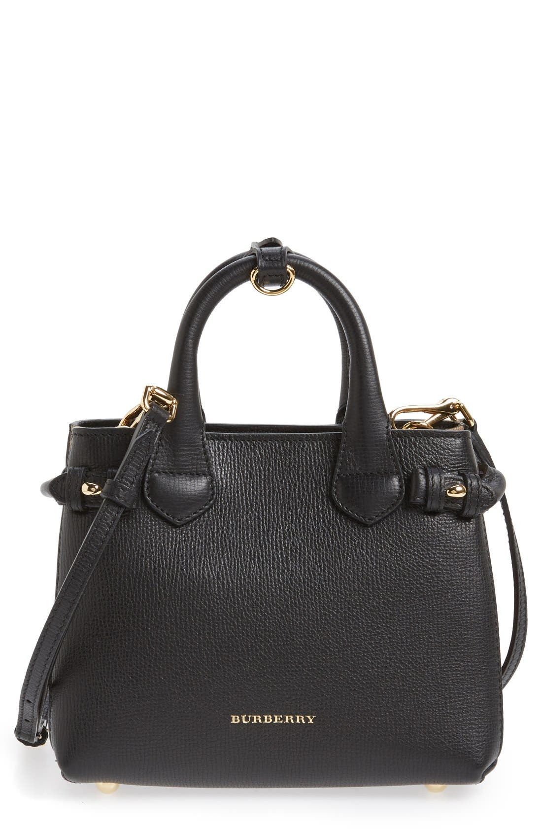 Alternate Image 1 Selected - Burberry 'Mini Banner' House Check Leather Tote