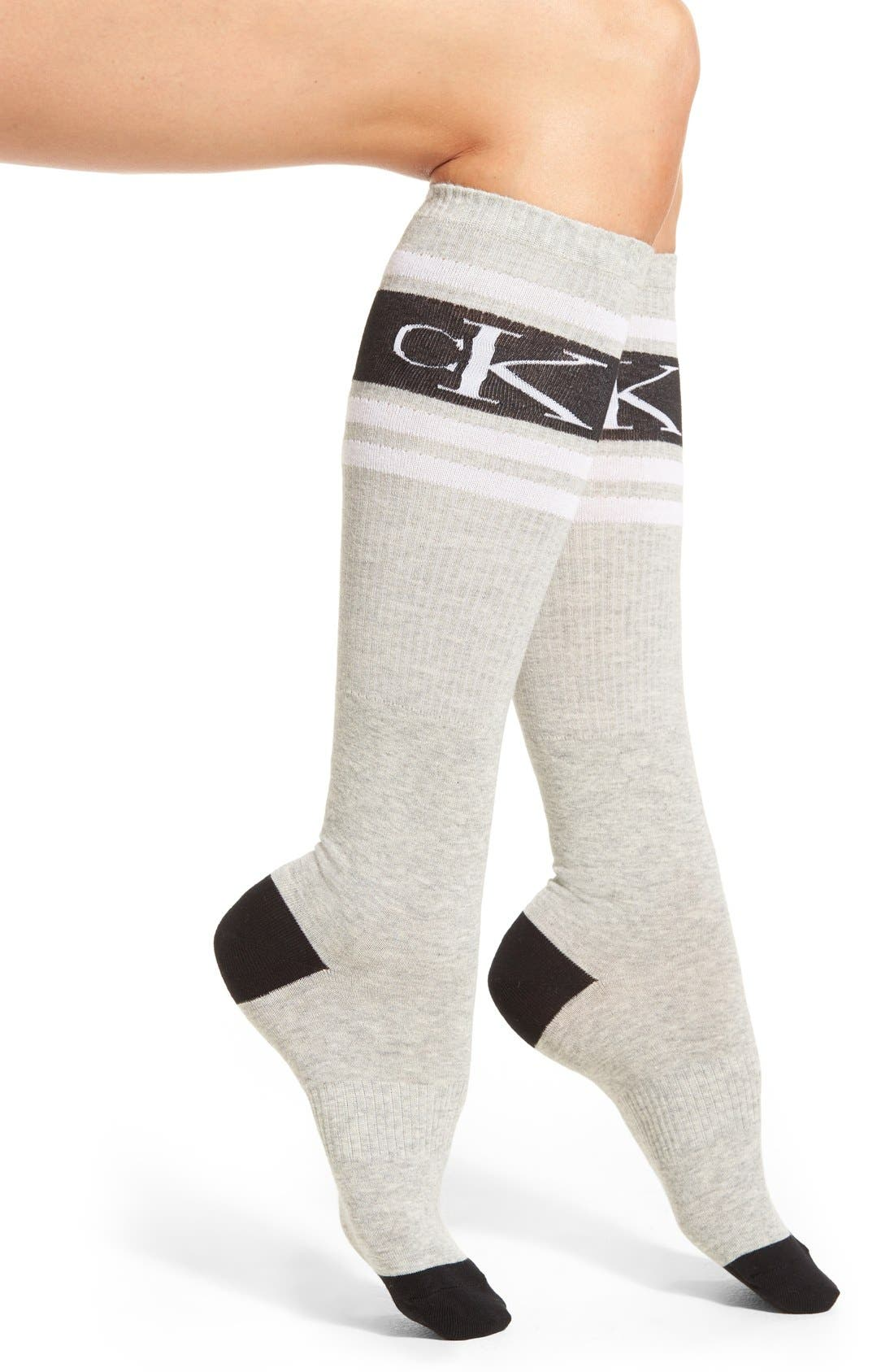 Main Image - Calvin Klein 'Icon Logo' Knee High Socks