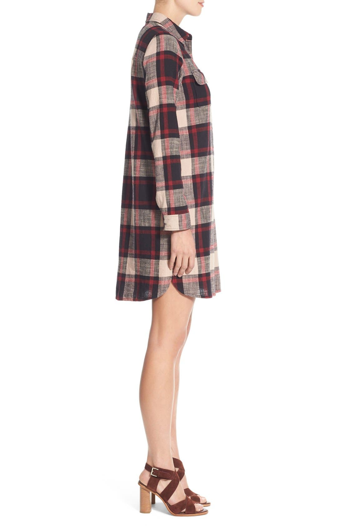 Alternate Image 3  - Caslon® Plaid Cotton Two-Pocket Shirtdress (Regular & Petite)