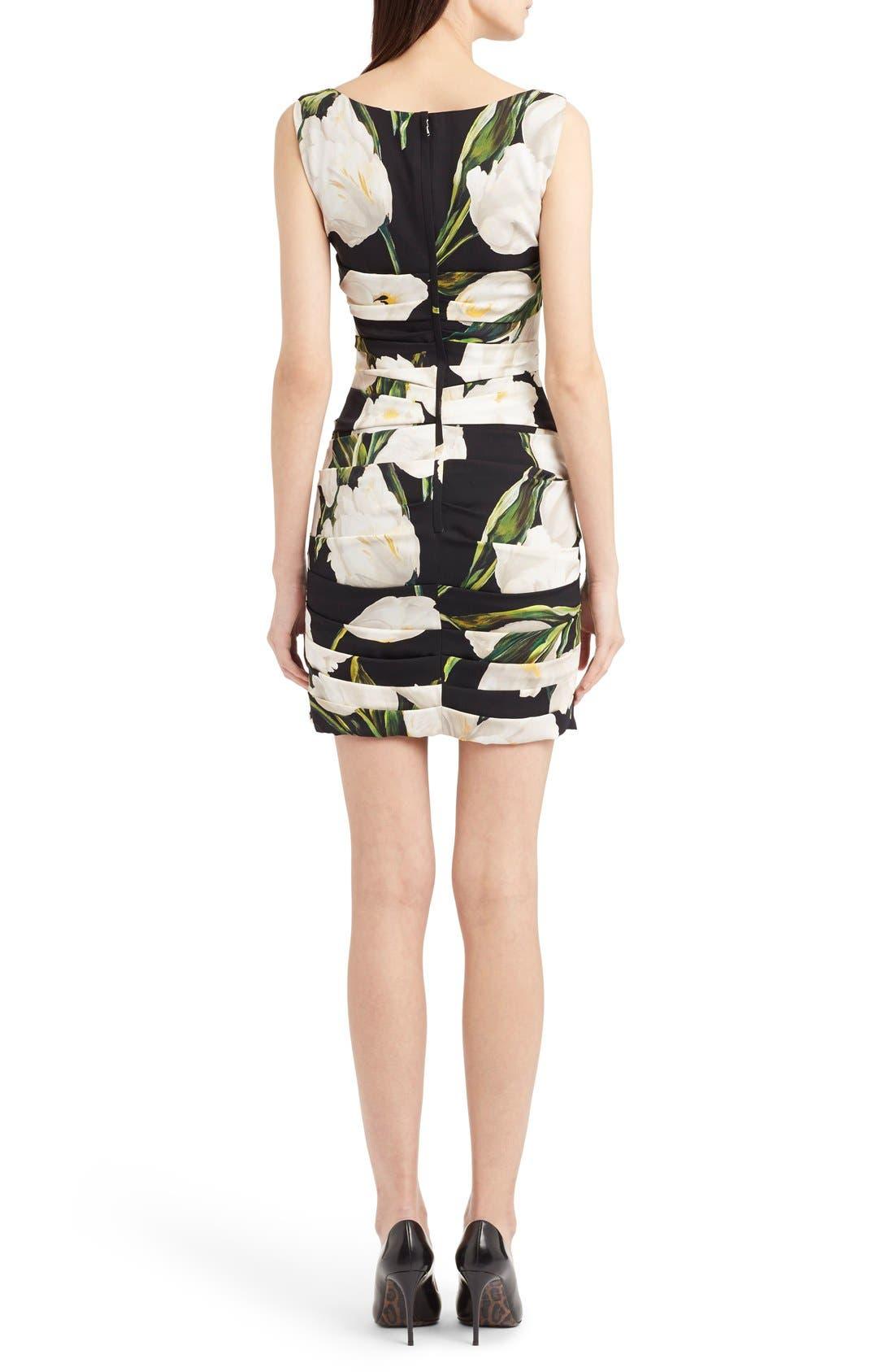 Alternate Image 2  - Dolce&Gabbana Ruched Tulip Print Stretch Silk Charmeuse Dress
