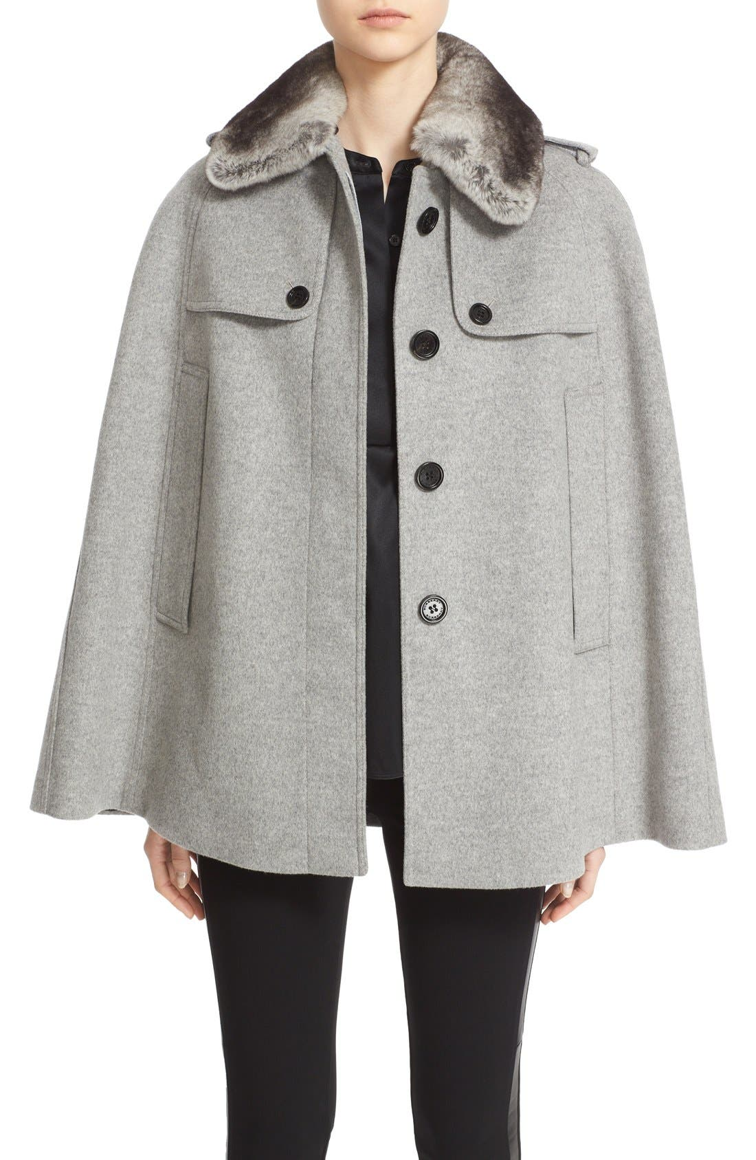 Main Image - Burberry 'Wolseley' Wool & Cashmere Trench Cape with Removable Genuine Rabbit Fur Collar