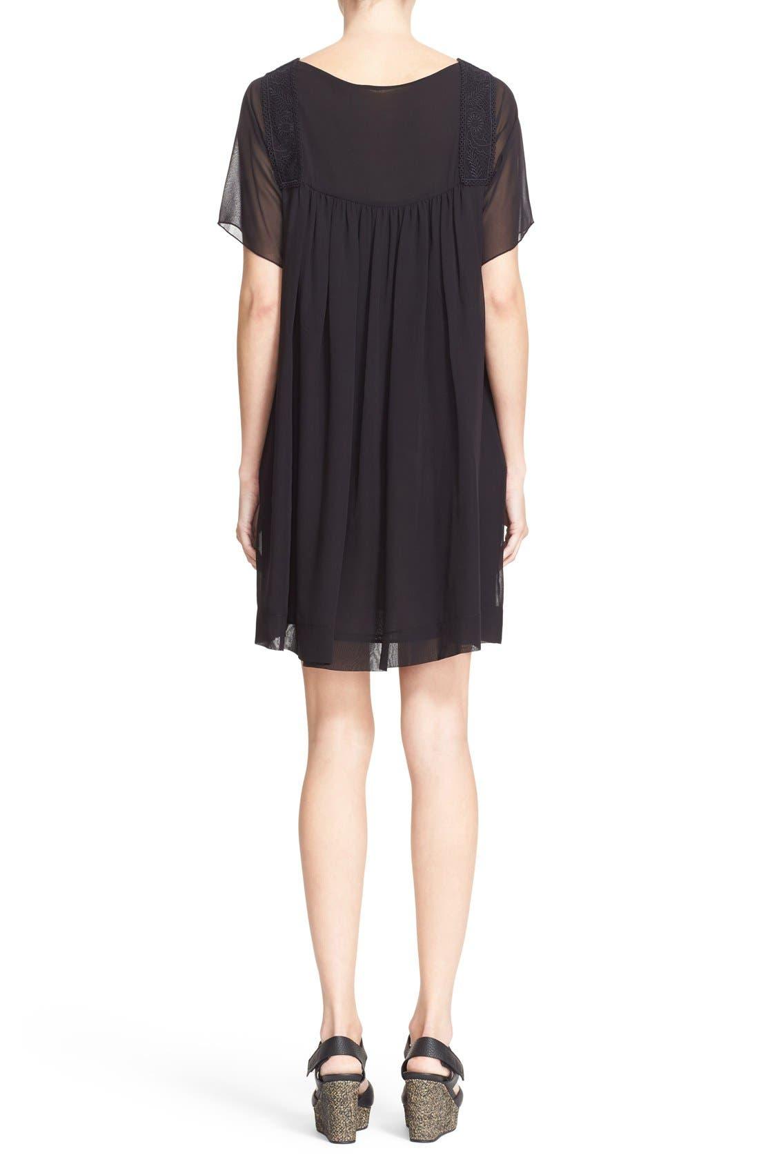Alternate Image 2  - See by Chloé Lace Trim Silk Georgette Dress