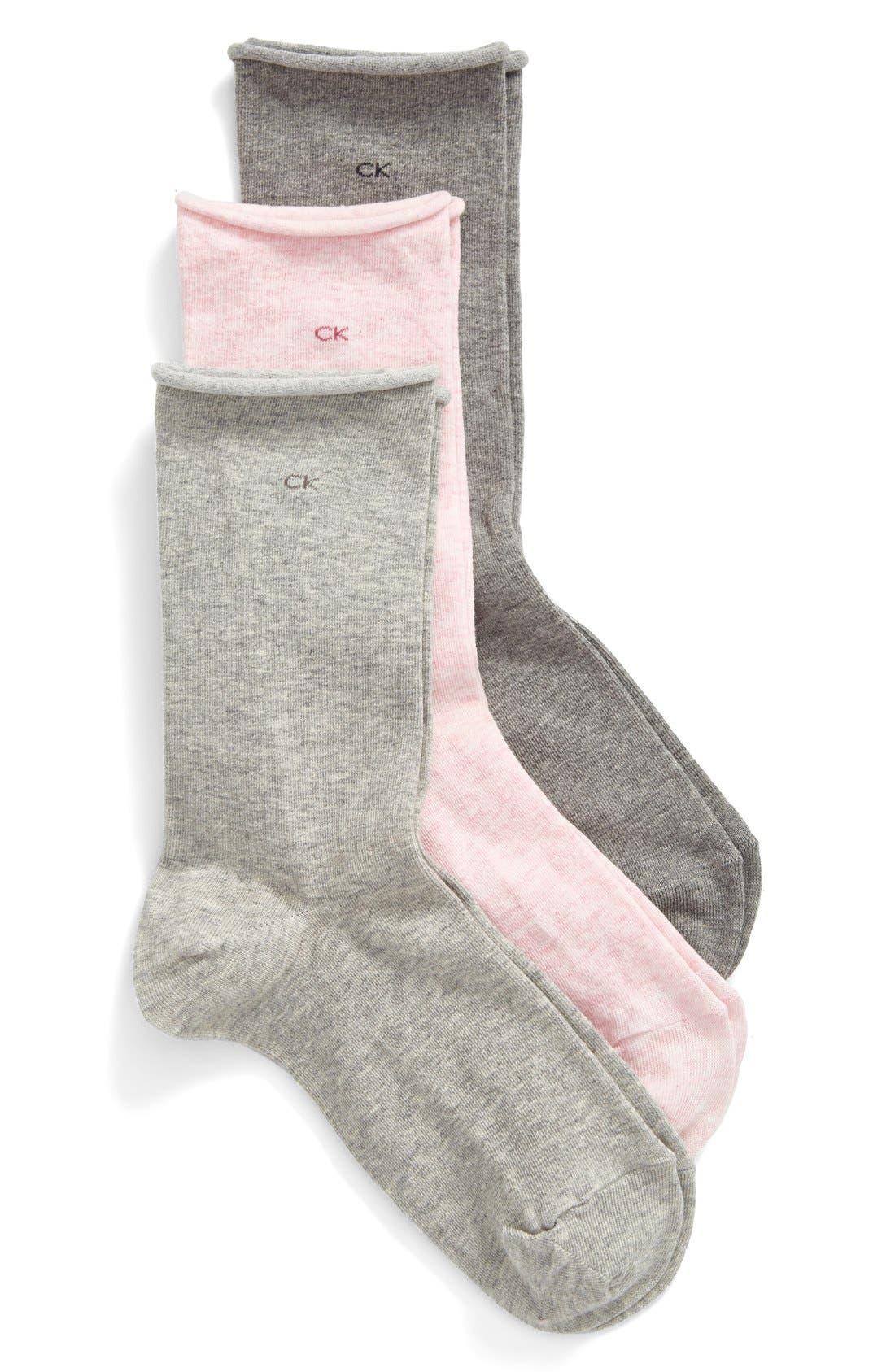 Main Image - Calvin Klein Roll Top Crew Socks (3-Pack)