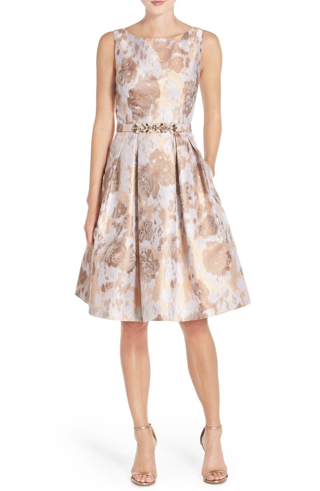 Alternate Image 1 Selected - Eliza J Belted Jacquard Fit & Flare Dress