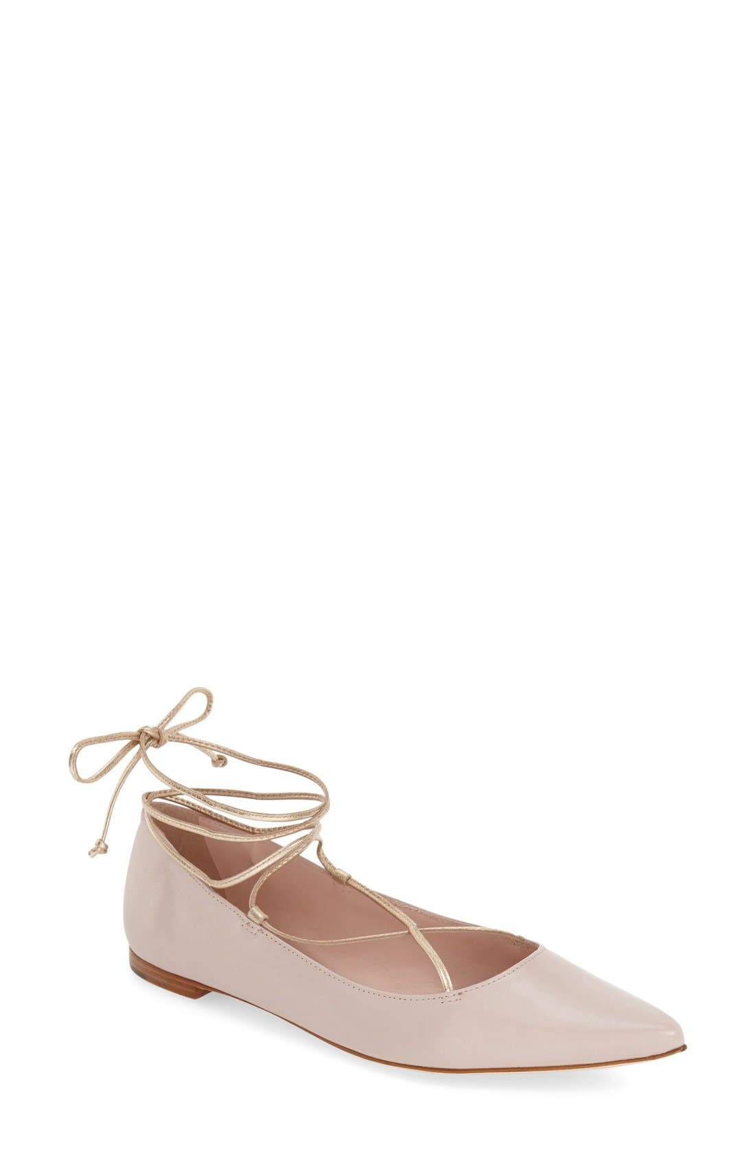 Alternate Image 1 Selected - kate spade new york 'genie' pointy toe lace up flat (Women)