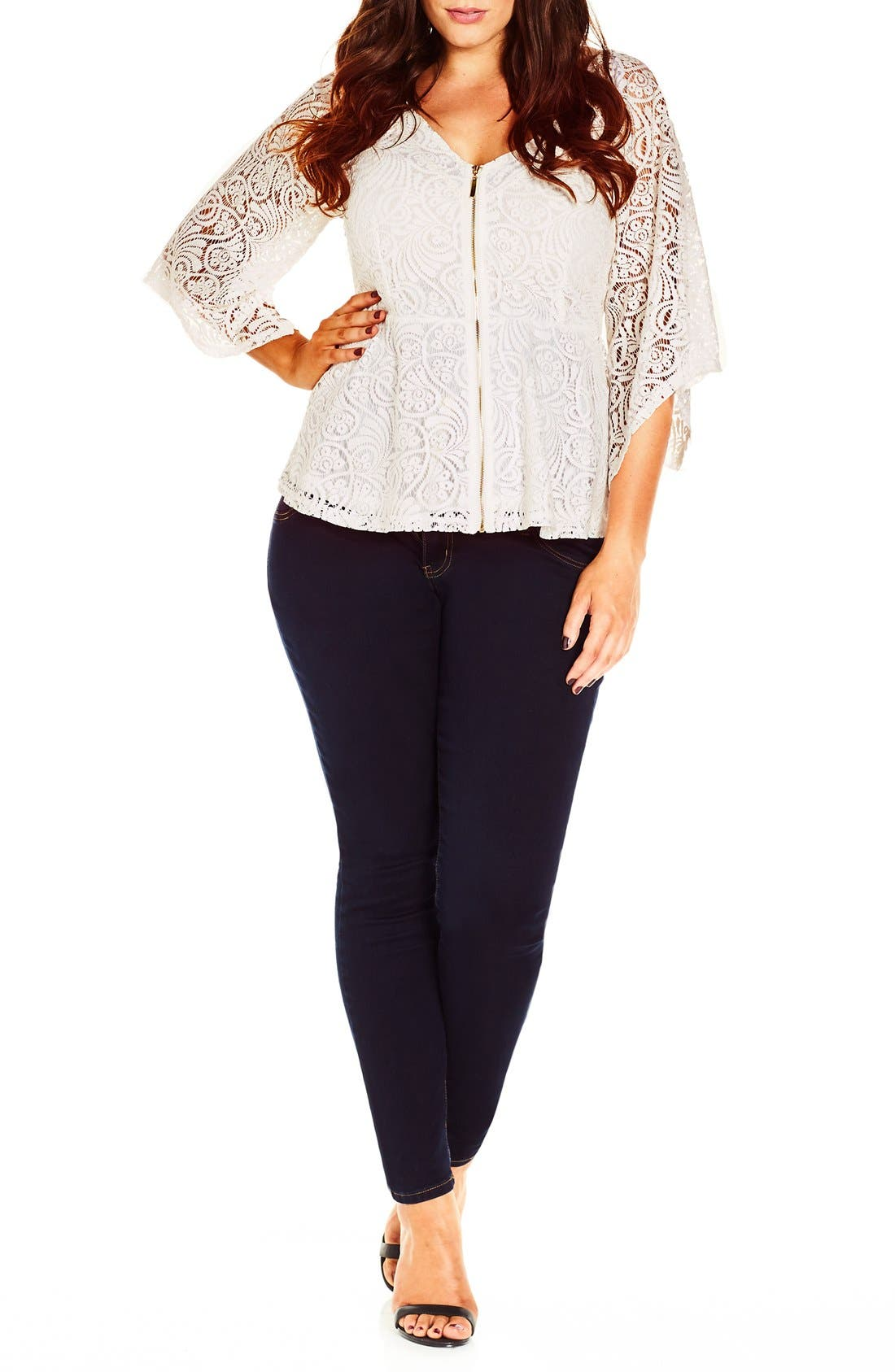 City Chic Lace Bell Sleeve Top (Plus Size)
