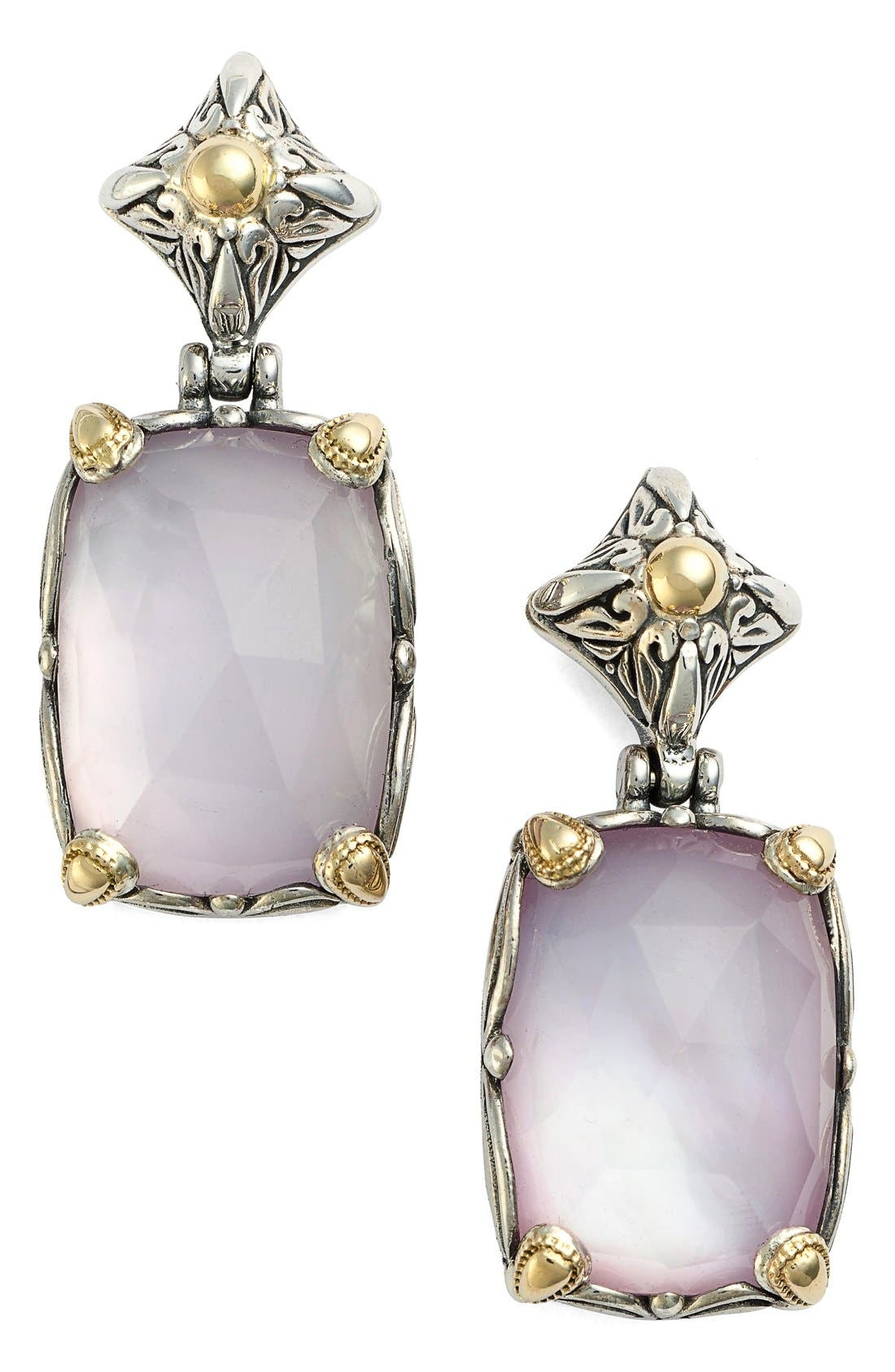 Konstantino 'Iliada' Rectangle Double Drop Earrings