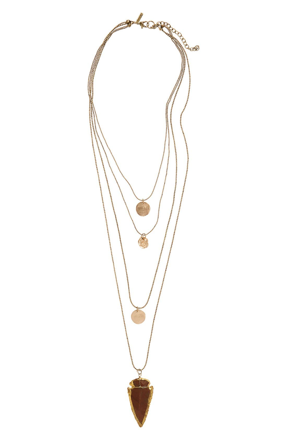 Main Image - Topshop Disc, Rose & Arrowhead Layer Necklace