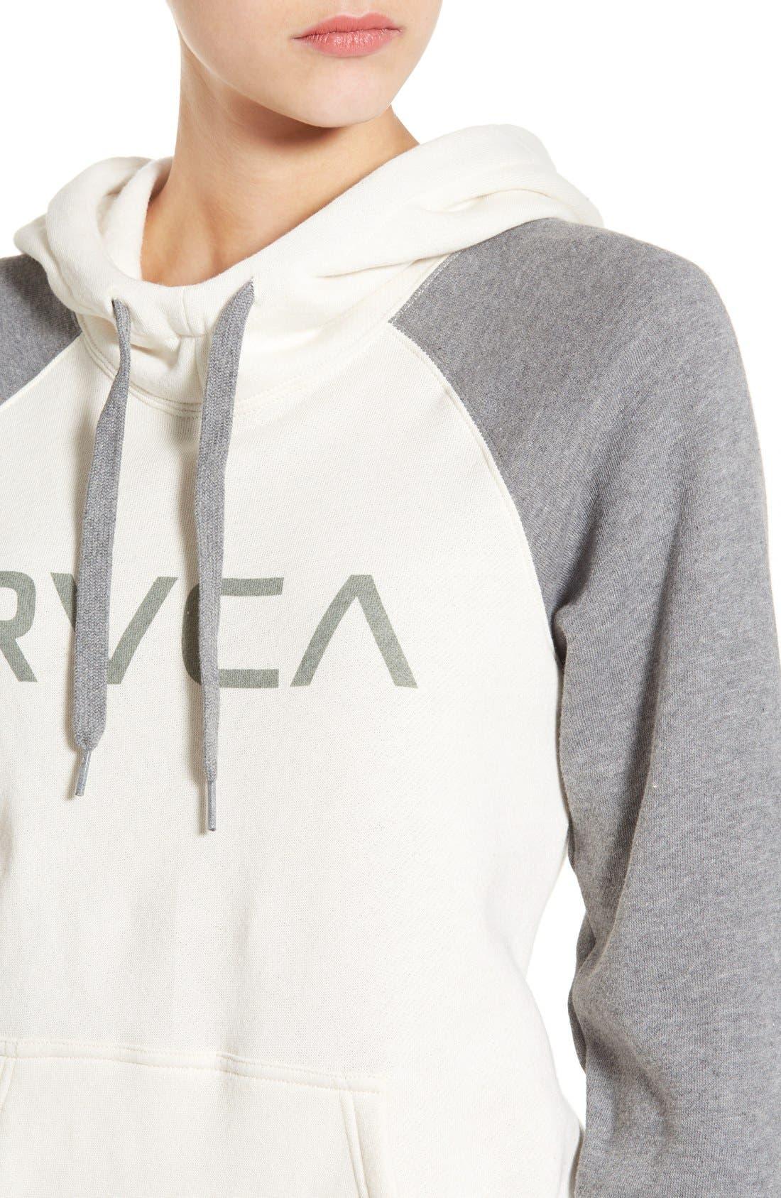 Alternate Image 4  - RVCA Raglan Sleeve Logo Hoodie