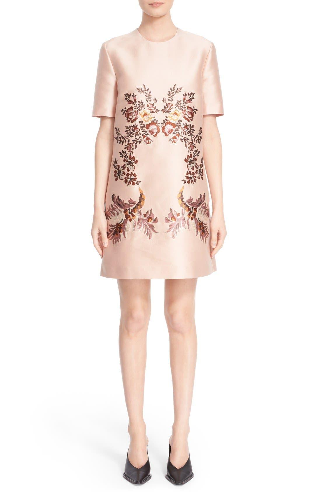 Alternate Image 1  - Stella McCartney Floral Embroidered Satin Shift Dress