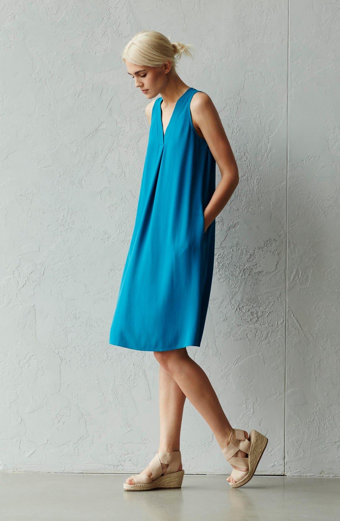 Alternate Image 6  - Eileen Fisher Silk V-Neck Shift Dress (Regular & Petite)