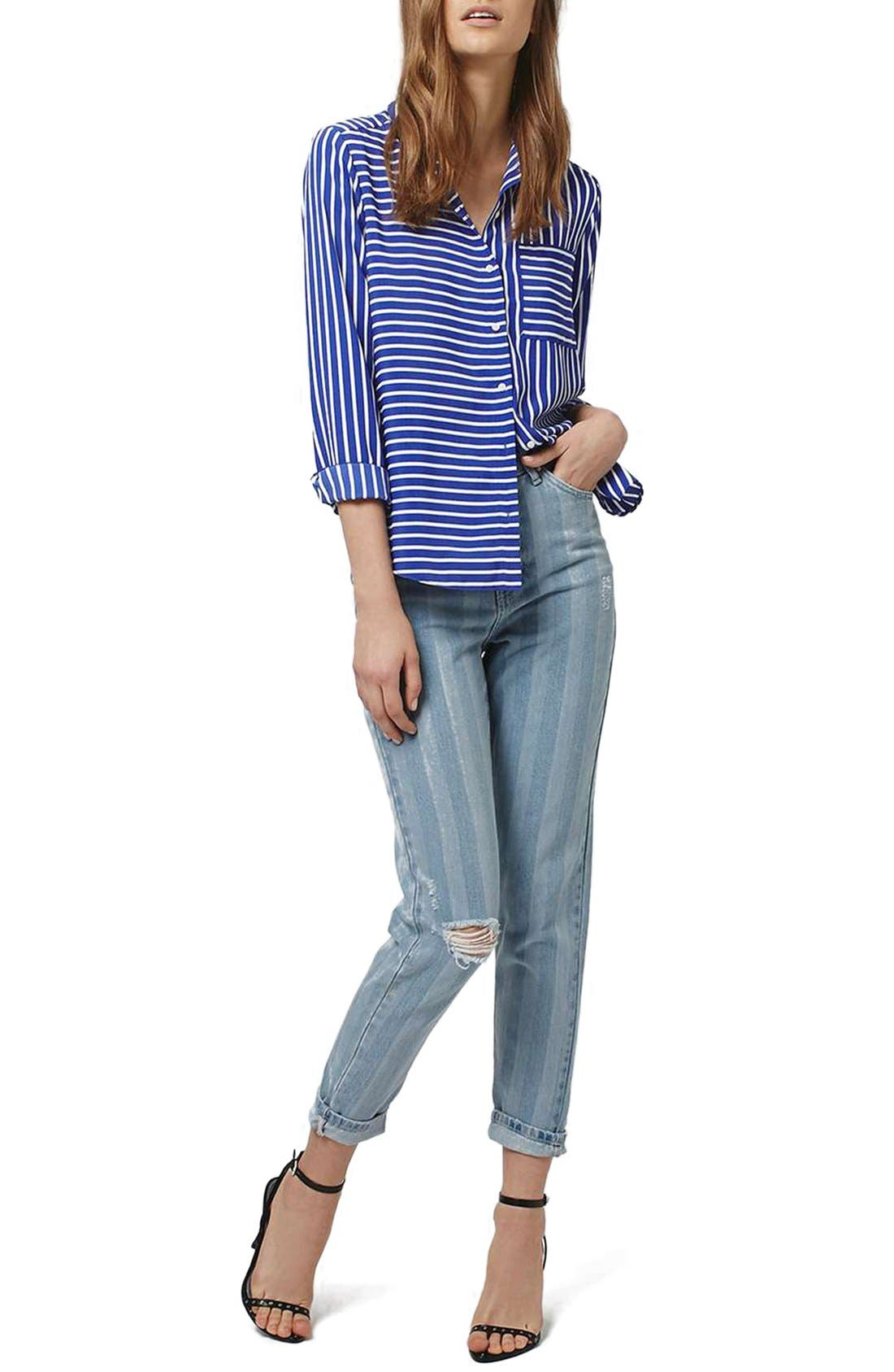 Alternate Image 2  - Topshop Ripped Stripe Mom Jeans