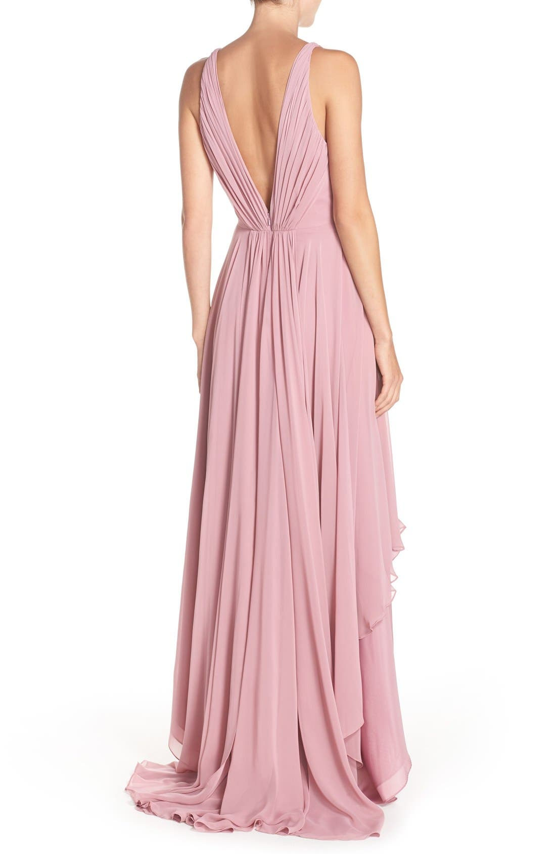 Alternate Image 2  - Monique Lhuillier Bridesmaids Deep V-Neck Chiffon High/Low Gown