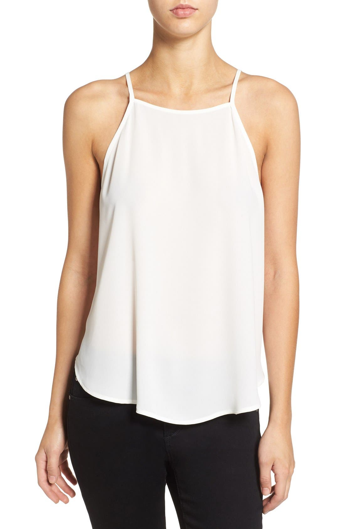 Alternate Image 1 Selected - Lush High Neck Woven Tank