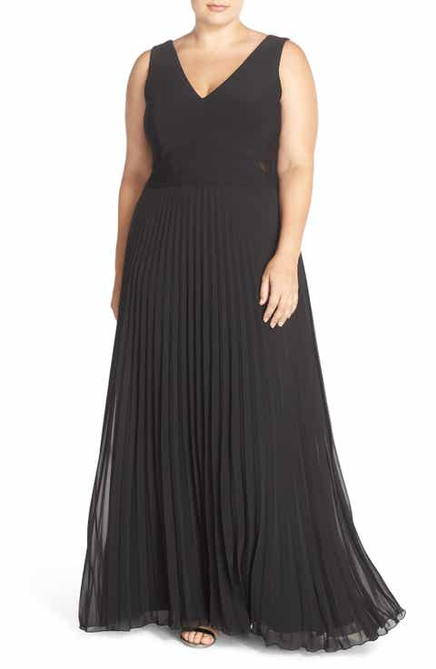 Xscape Jersey   Pleat Chiffon V-Neck Gown (Plus Size)