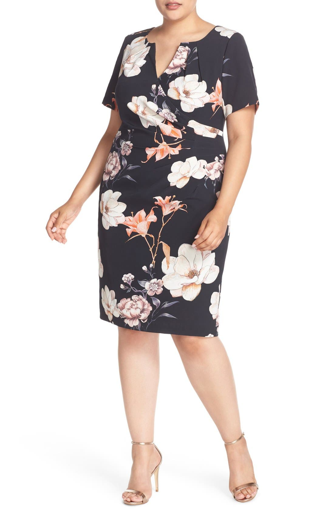Adrianna Papell Side Pleat Floral Print Sheath Dress (Plus Size)