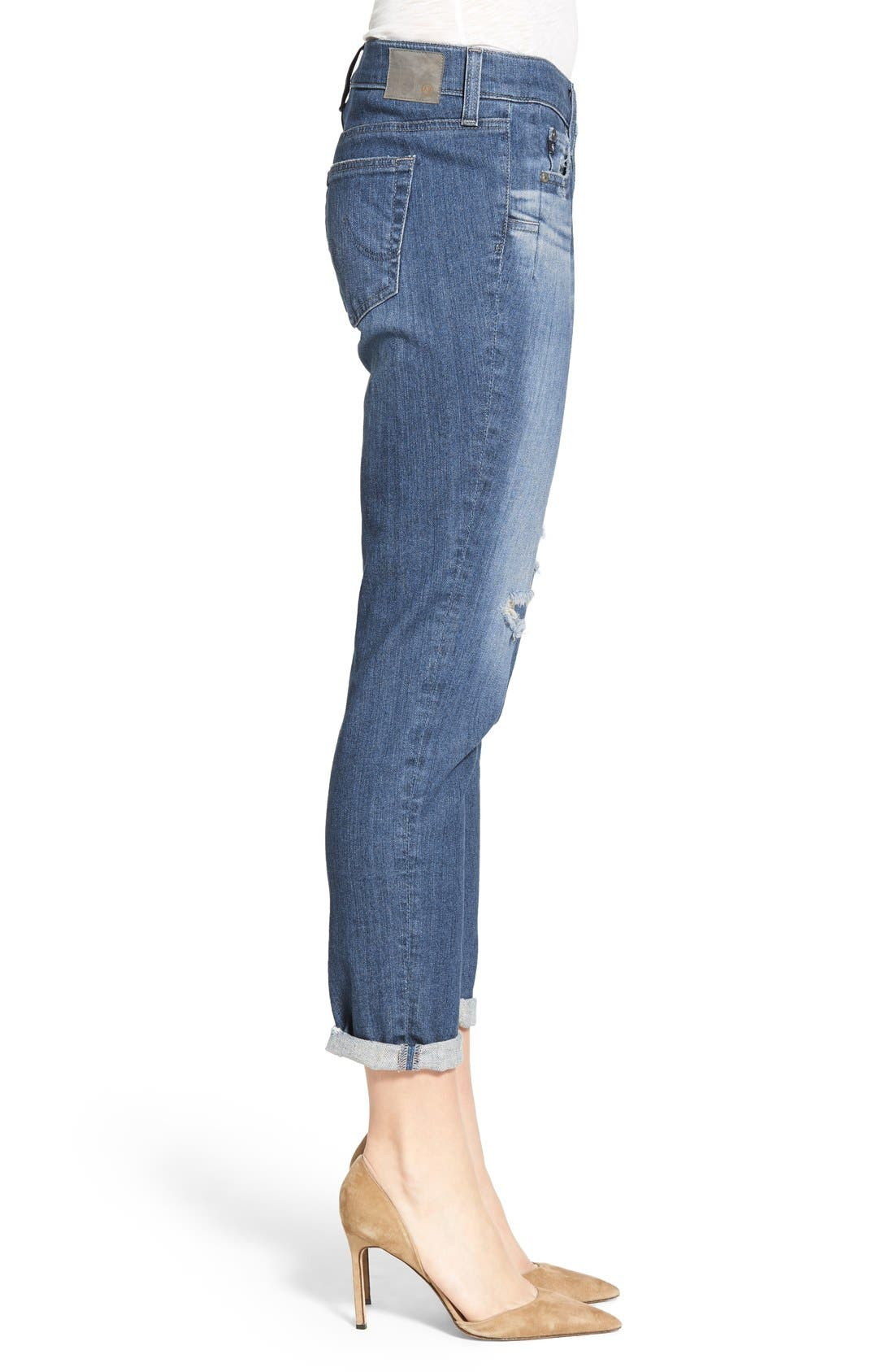Alternate Image 3  - AG 'The Beau' High Rise Slouchy Skinny Jeans (Dunes Destroyed)