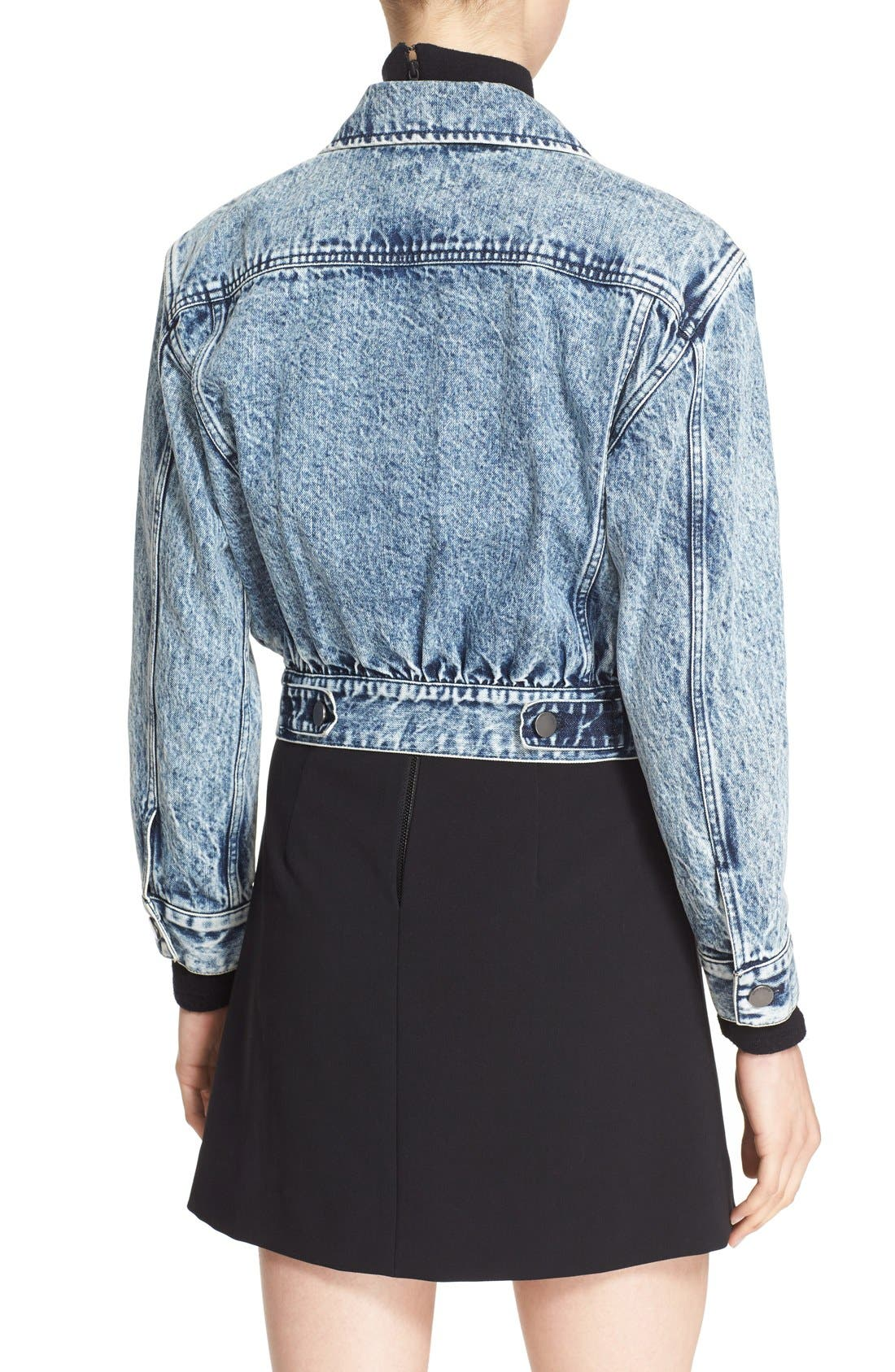 Alternate Image 2  - Alice + Olivia 'Chloe' Embellished Crop Denim Jacket