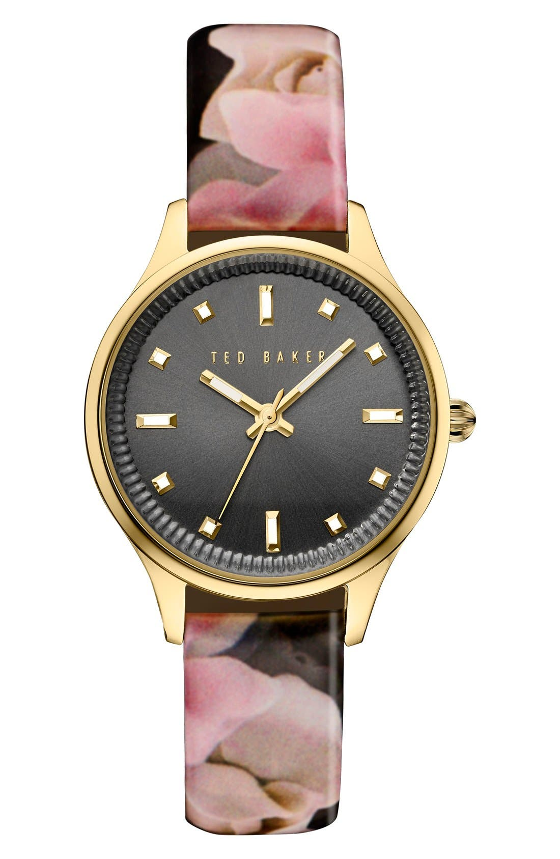 Alternate Image 1 Selected - Ted Baker London 'Dress Sport' Patent Leather Strap Watch, 32mm
