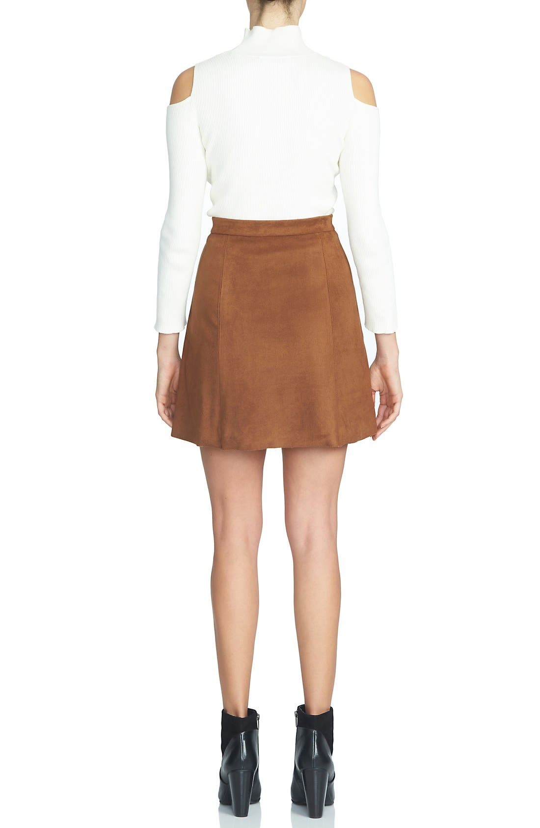 Alternate Image 2  - 1.STATE Faux Suede A-Line Miniskirt