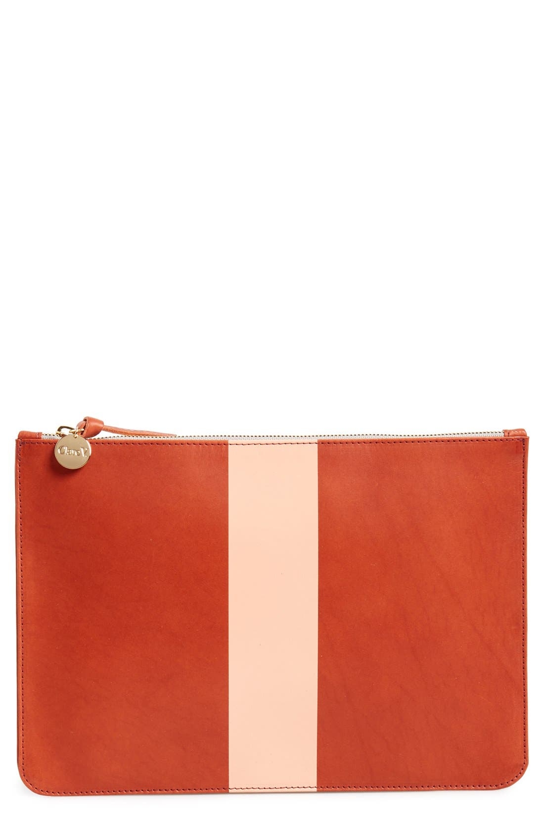 Alternate Image 1 Selected - Clare V. Colorblock Leather Zip Clutch