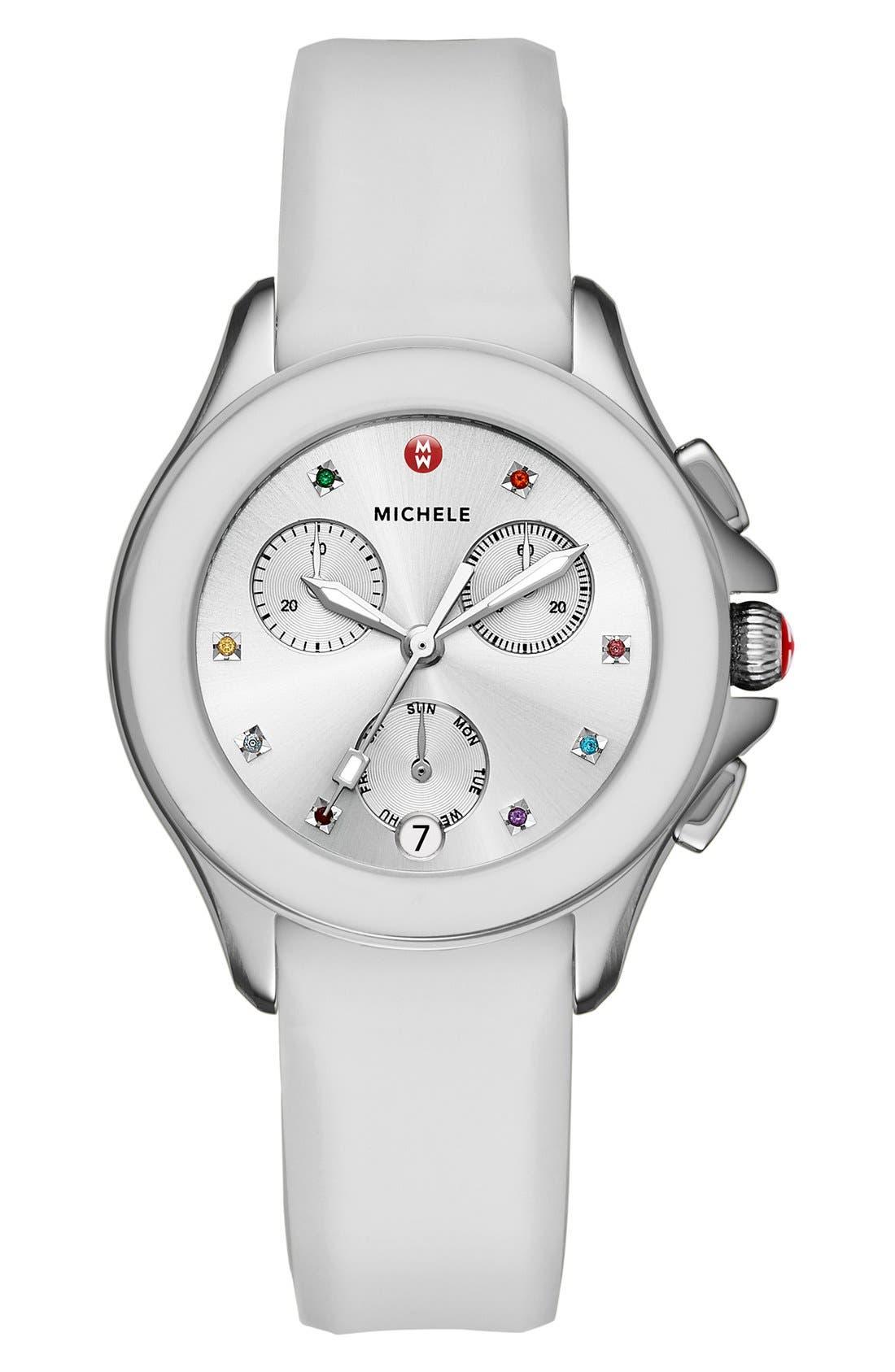 MICHELE Cape Chronograph Silicone Strap Watch, 34mm