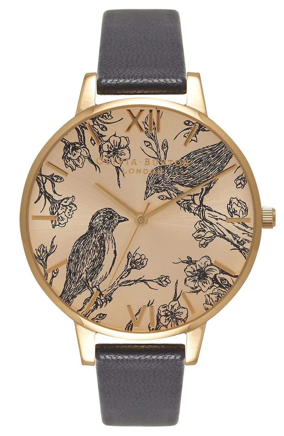 Alternate Image 1 Selected - Olivia Burton 'Animal Motif' Leather Strap Watch, 38mm