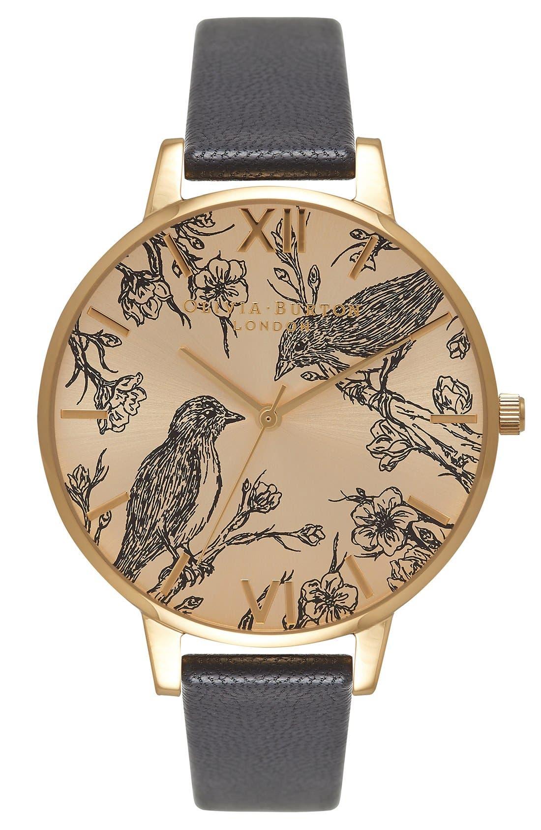 Main Image - Olivia Burton 'Animal Motif' Leather Strap Watch, 38mm