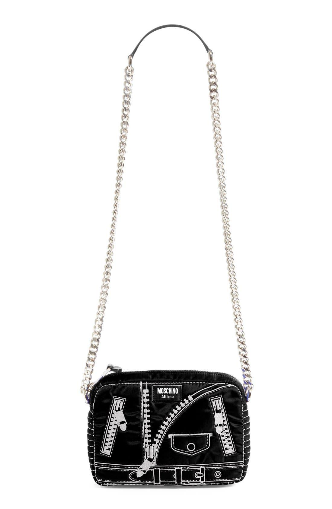 Alternate Image 1 Selected - Moschino 'Biker Jacket' Embroidered Crossbody Bag