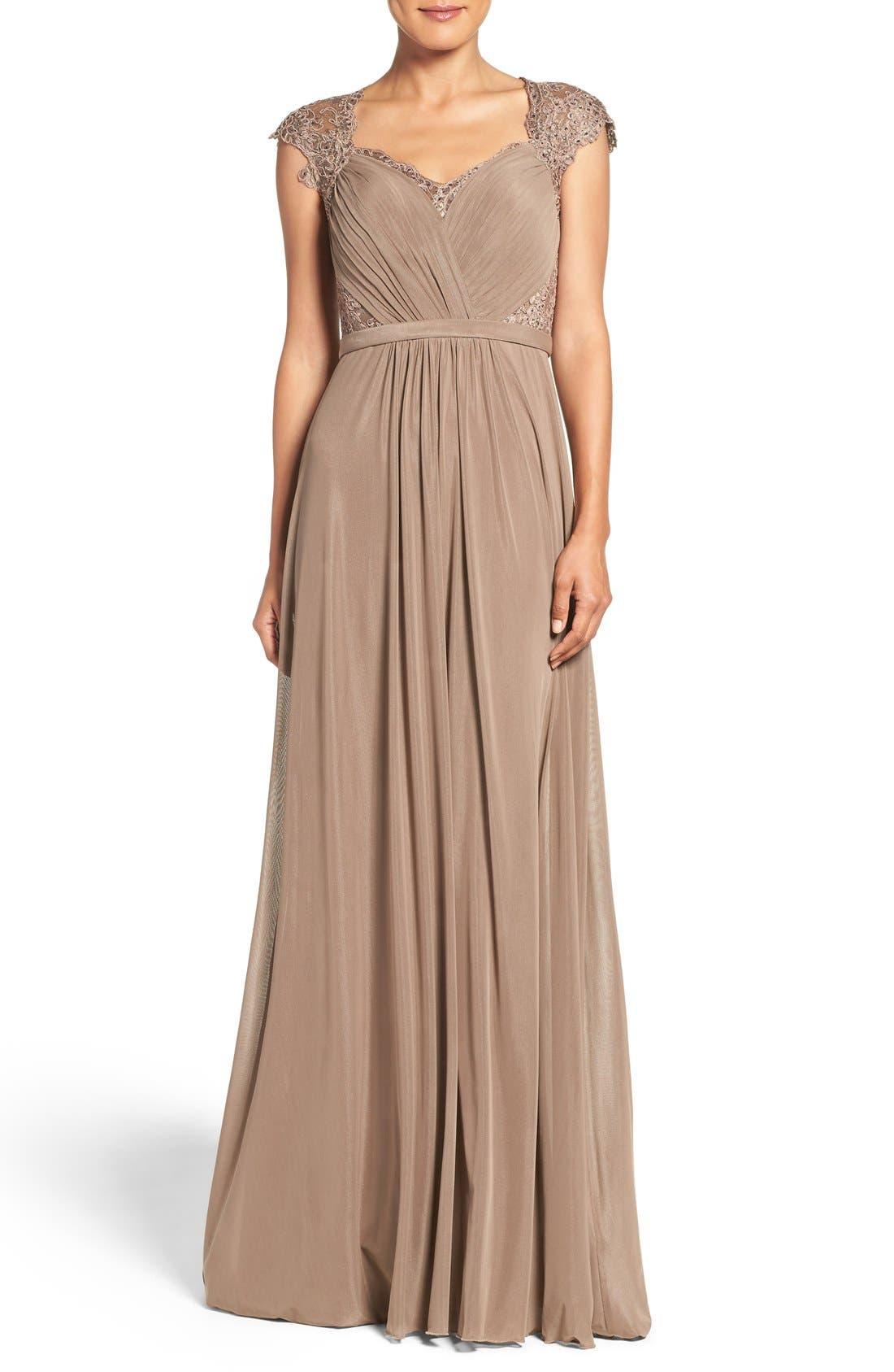 La Femme Mixed Media Gown