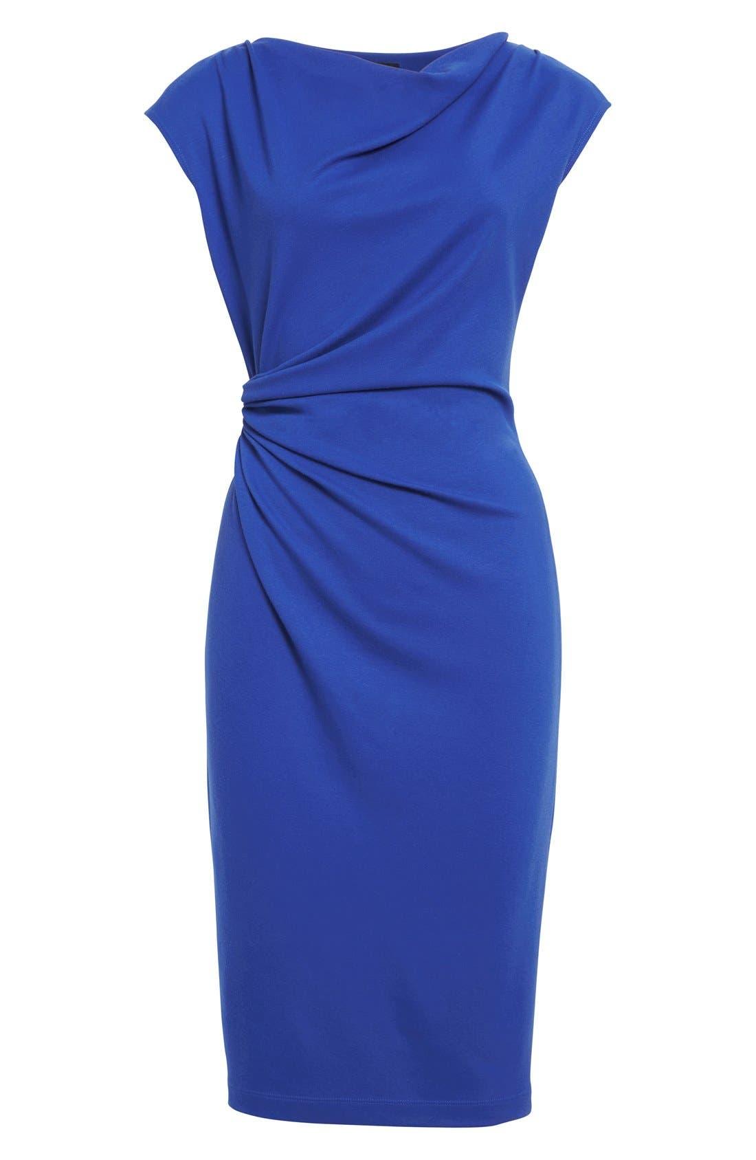 Alternate Image 4  - Lafayette 148 New York Drape Neck Ponte Dress (Regular & Petite)