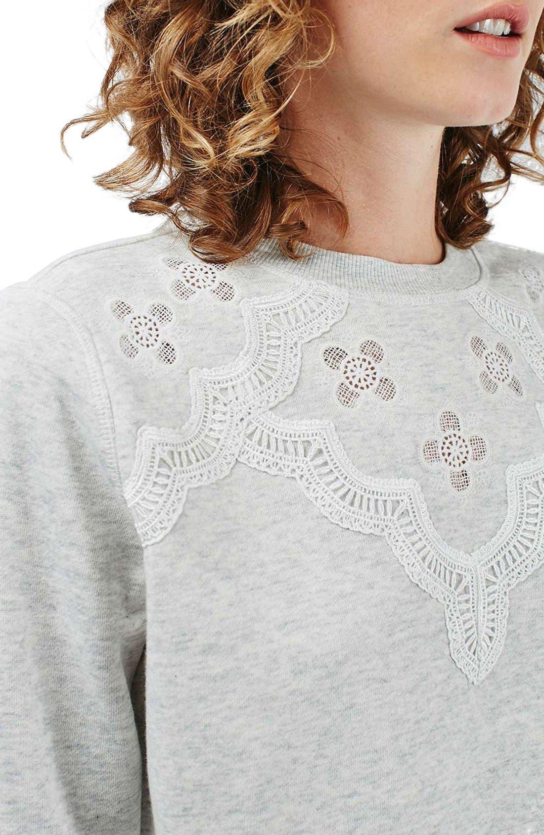 Alternate Image 5  - Topshop Crochet Daisy Sweatshirt