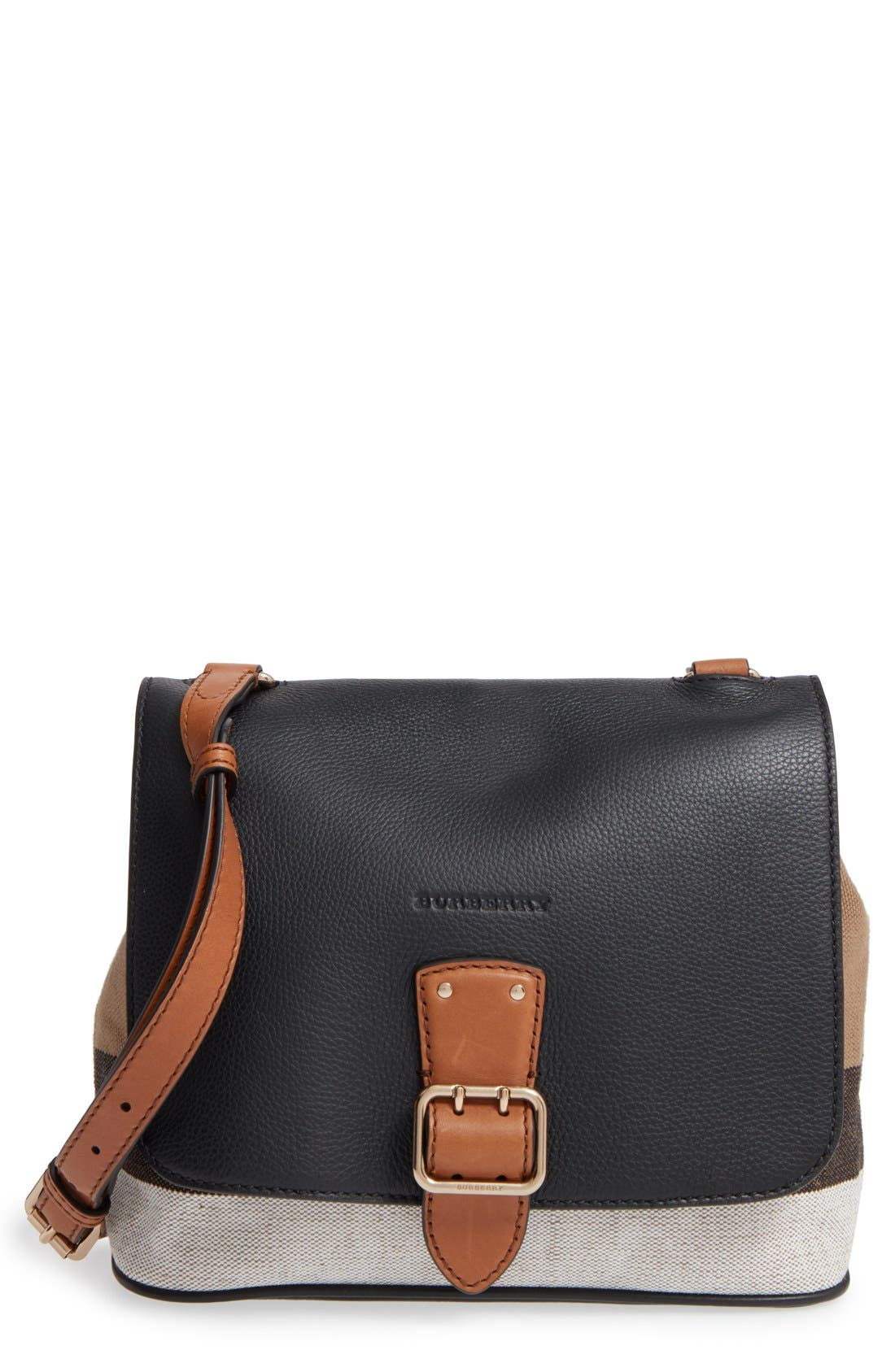 Alternate Image 1 Selected - Burberry 'Small Shellwood' Canvas & Leather Crossbody Bag