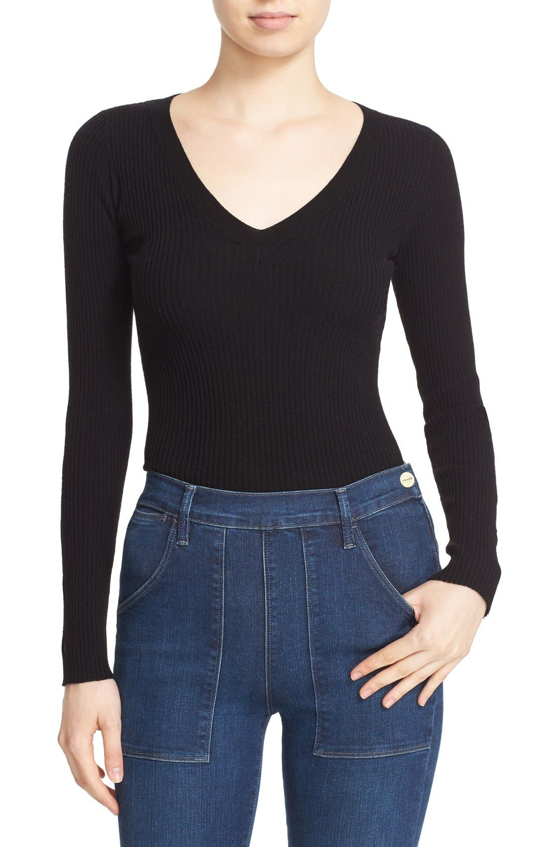 Alternate Image 1 Selected - autumn cashmere Ribbed Cutout Sleeve V-Neck Top