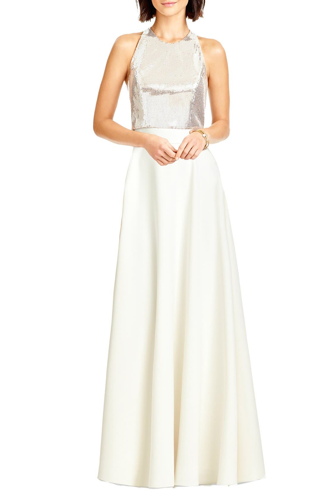 Alternate Image 1 Selected - Dessy Collection Sequin Halter Top & Long Crepe Skirt