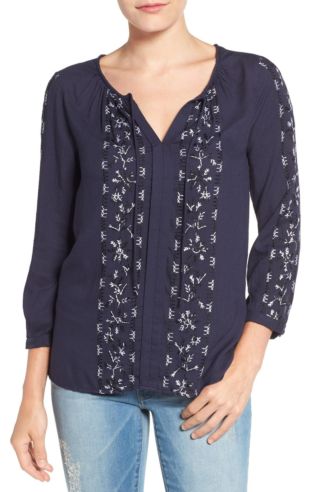 Alternate Image 1 Selected - Lucky Brand Embroidered Peasant Blouse