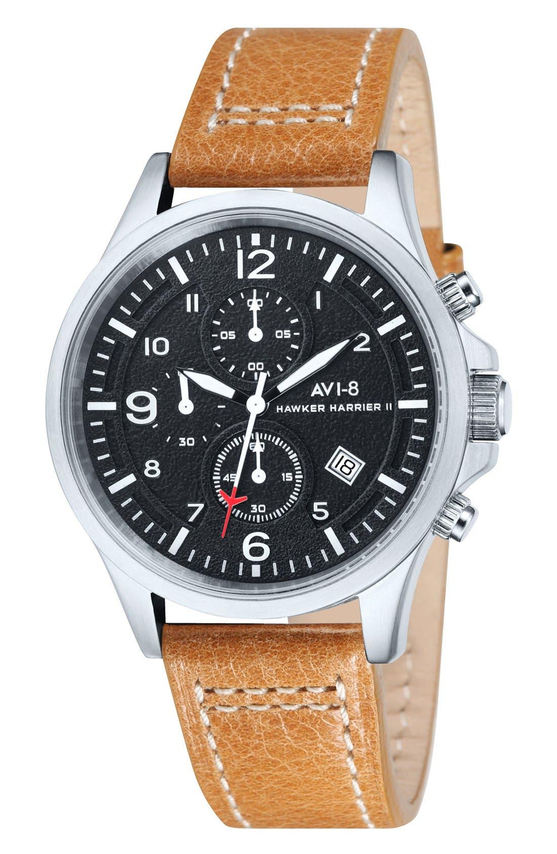 AVI-8 'Hawker Harrier II' Chronograph Leather Strap Watch, 42mm