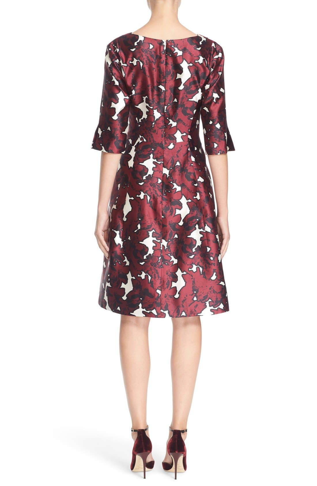 Alternate Image 2  - Oscar de la Renta 'Pressed Flowers' Print Silk Mikado Dress