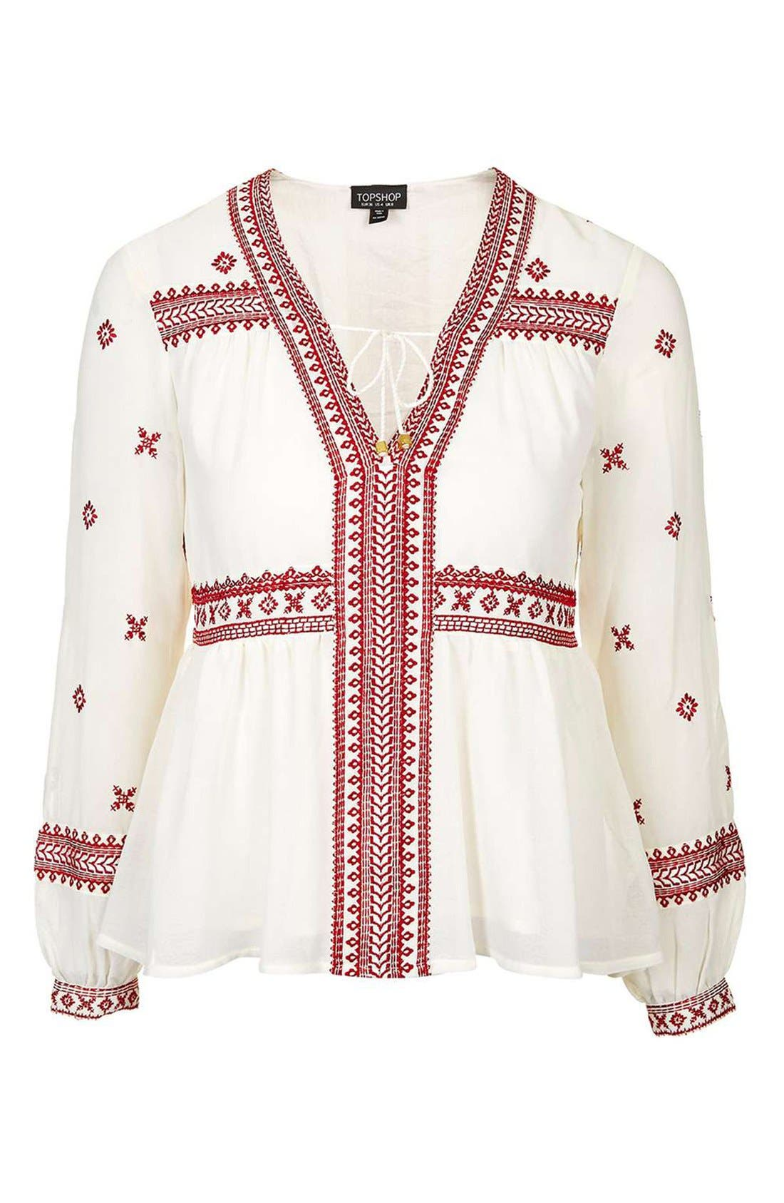 Alternate Image 4  - Topshop Embroidered Peasant Top