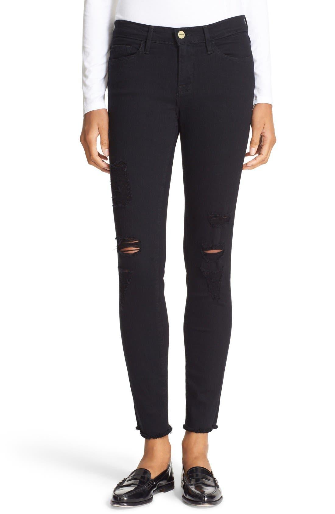FRAME 'Le Skinny de Jeanne' Ripped Jeans (Noir Jefferson)