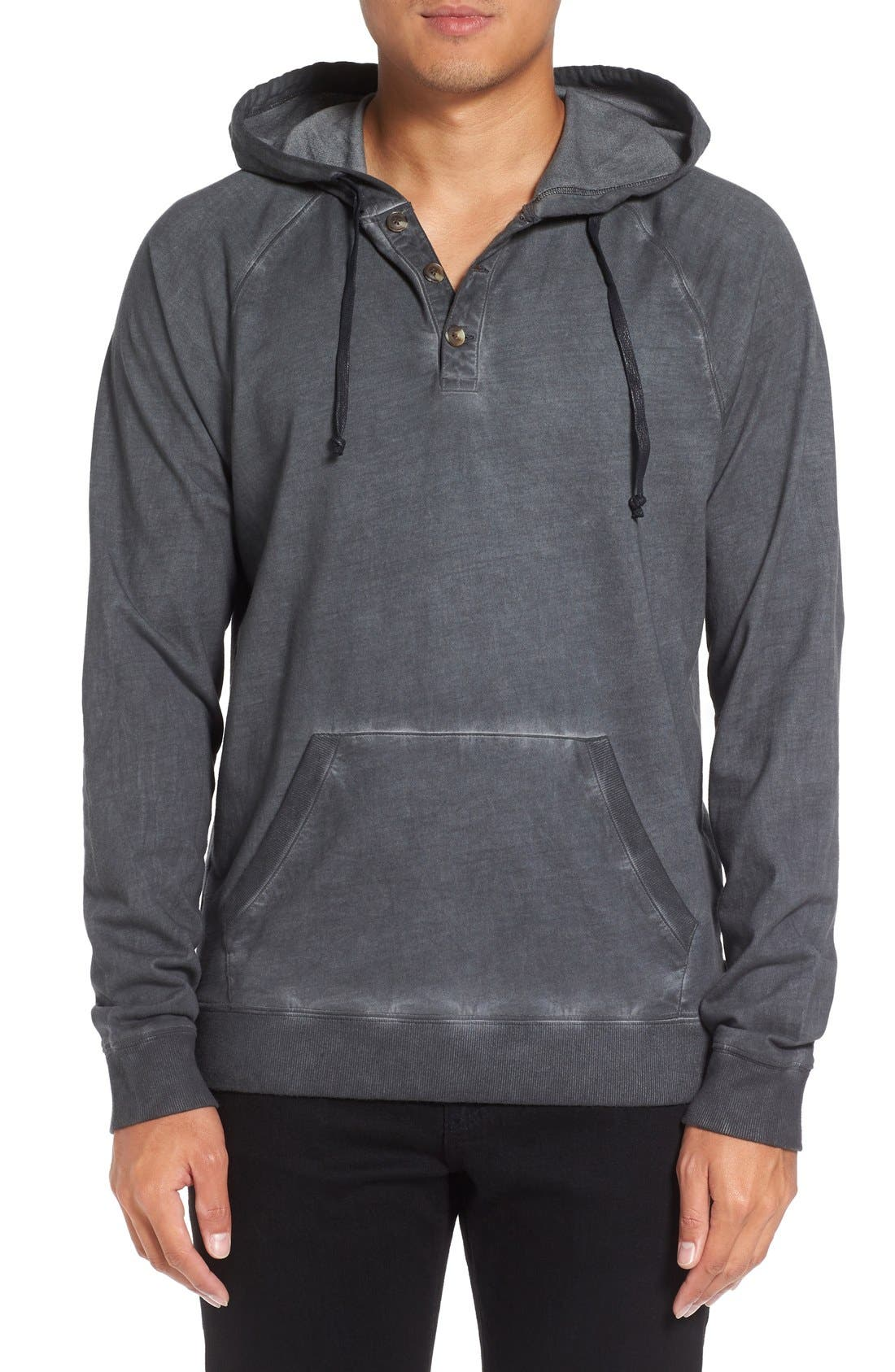 MICHAEL STARS Faded Henley Hoodie
