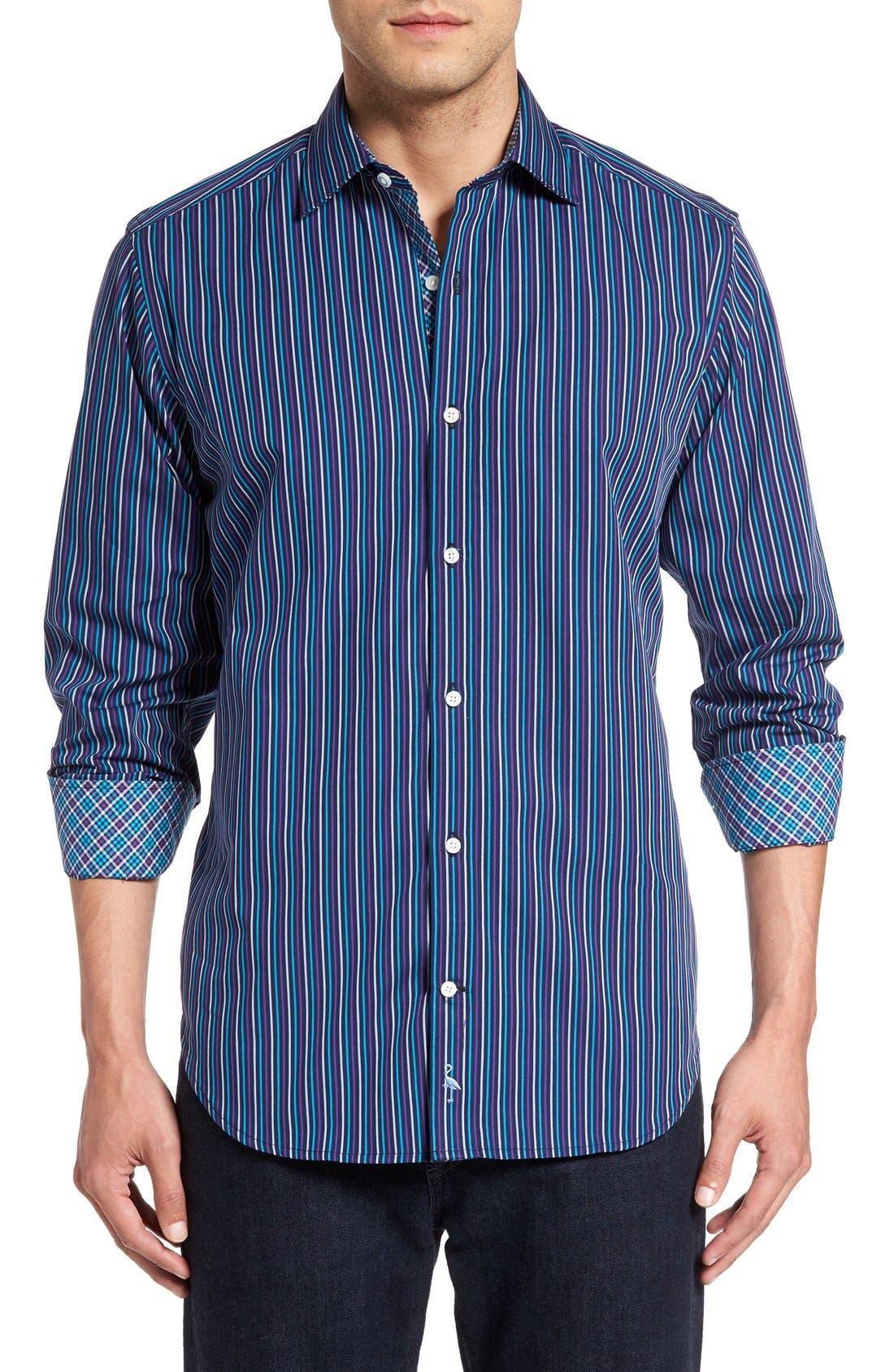TAILORBYRD 'Appalachians' Stripe Sport Shirt