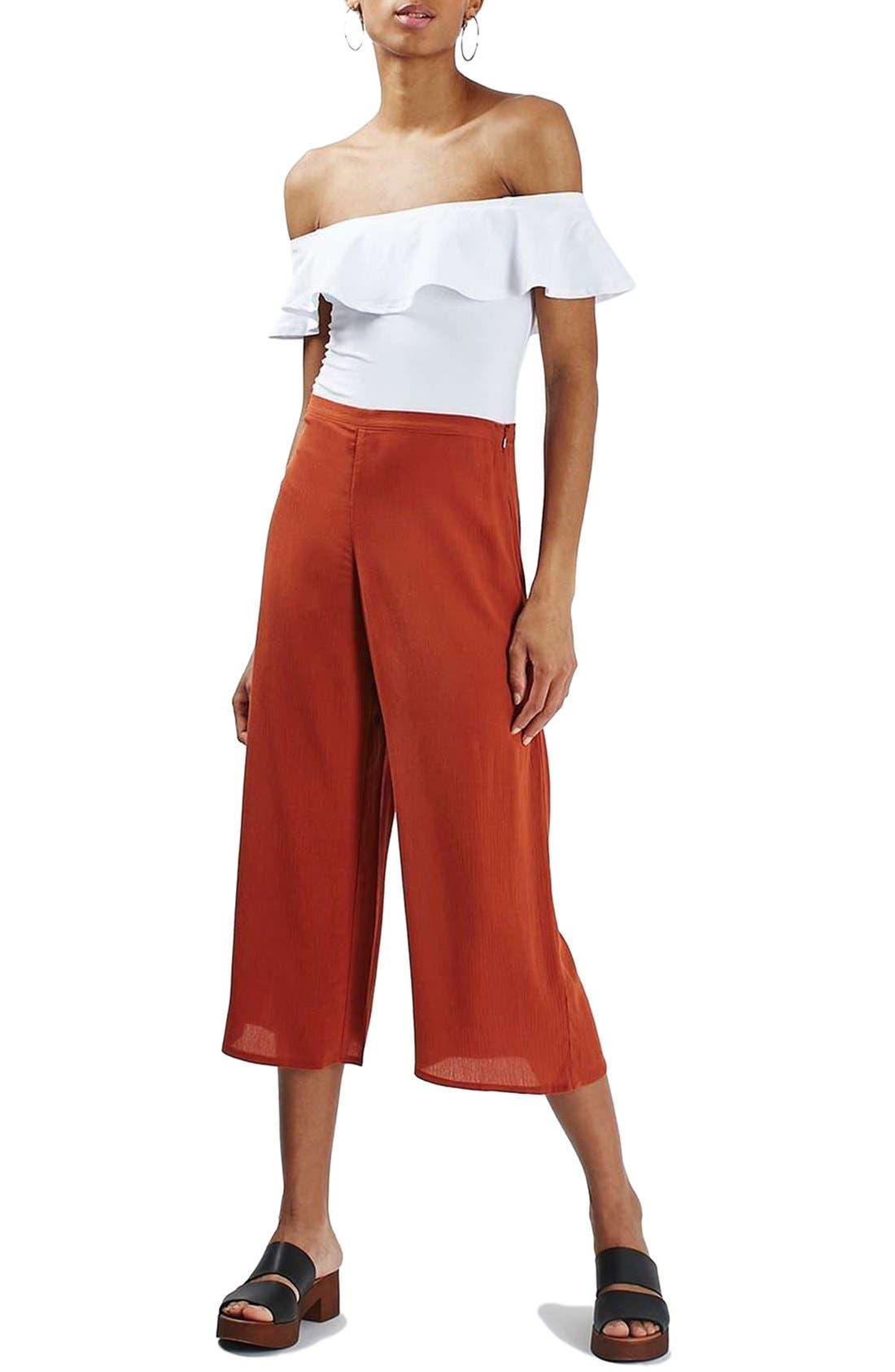 Alternate Image 2  - Topshop Crinkled Crop Wide Leg Trousers