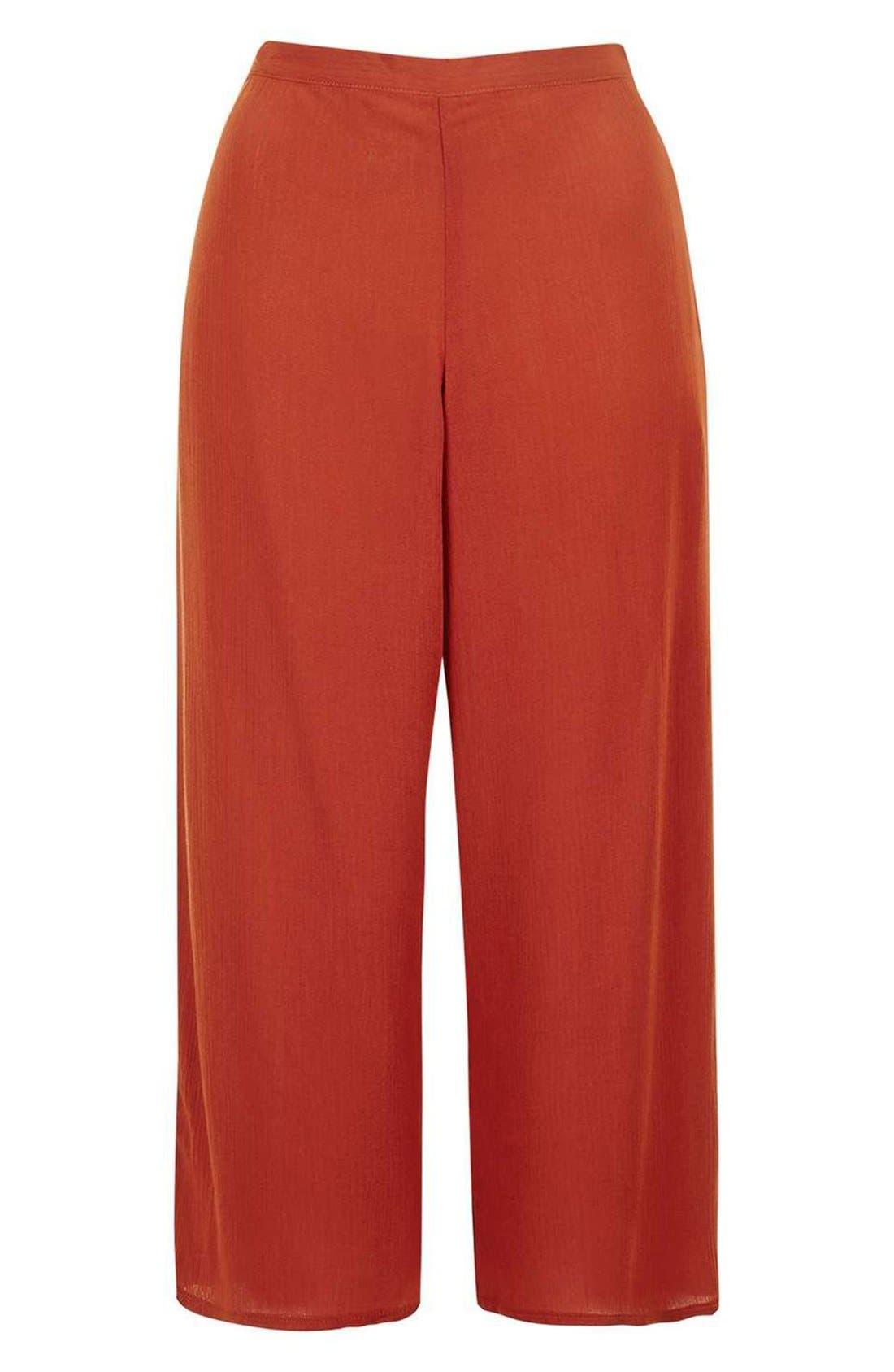 Alternate Image 4  - Topshop Crinkled Crop Wide Leg Trousers