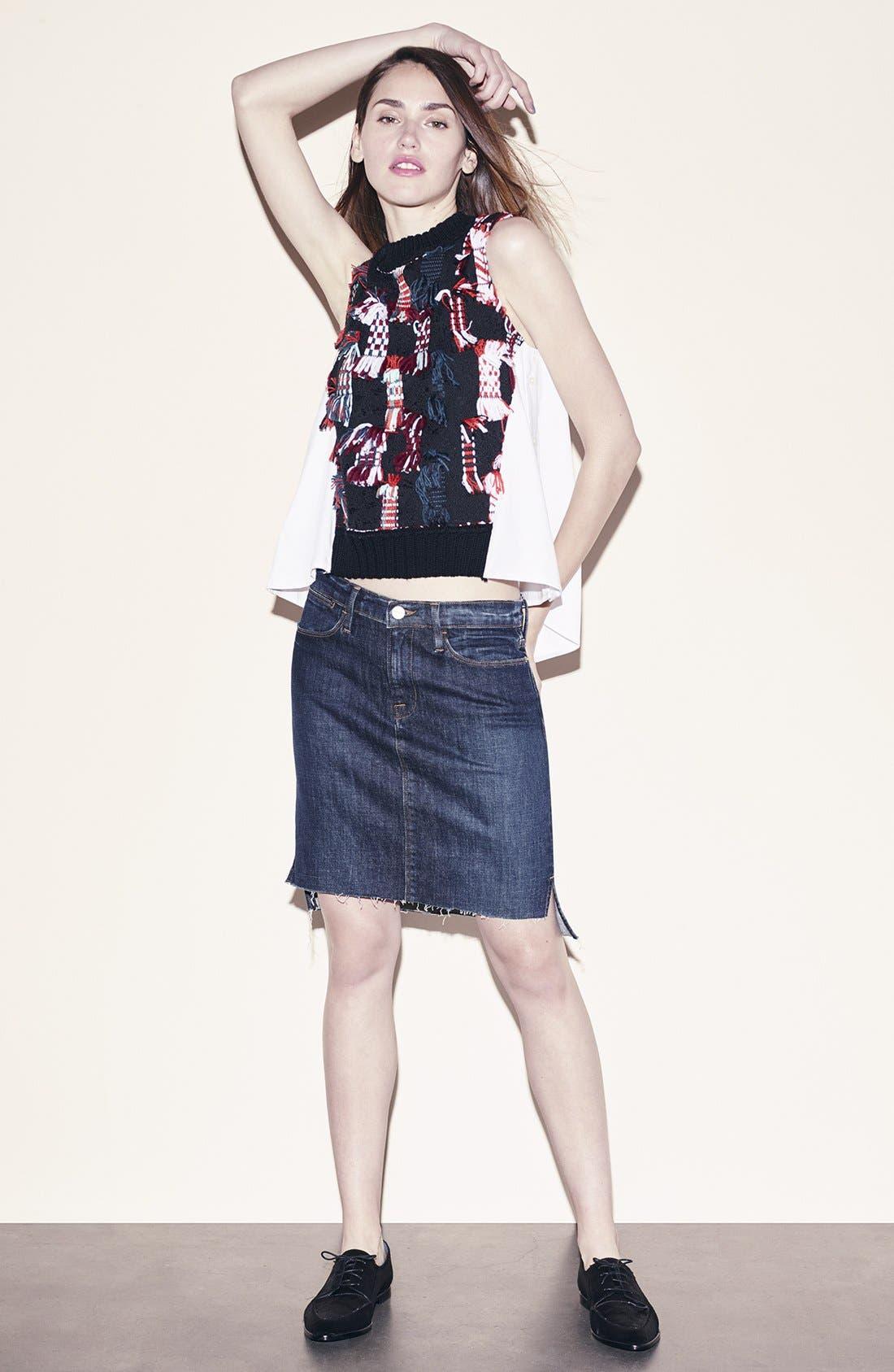 Alternate Image 8  - FRAME High Rise Denim Miniskirt (Catamaran)