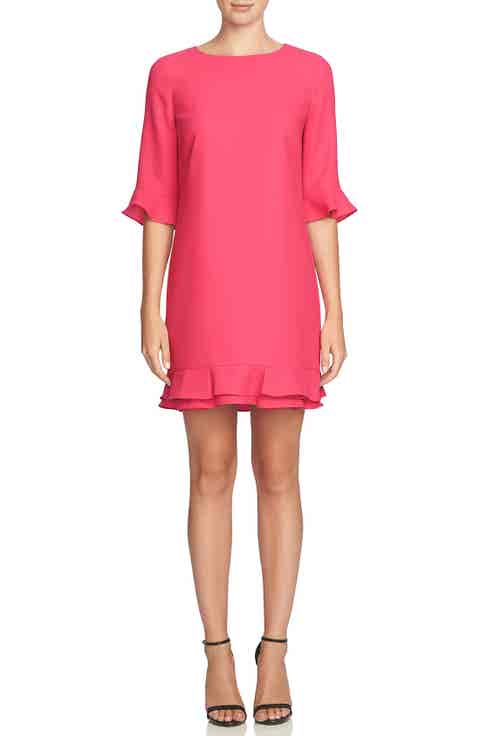 CeCe 'Kate' Ruffle Hem Shift Dress (Regular   Petite)