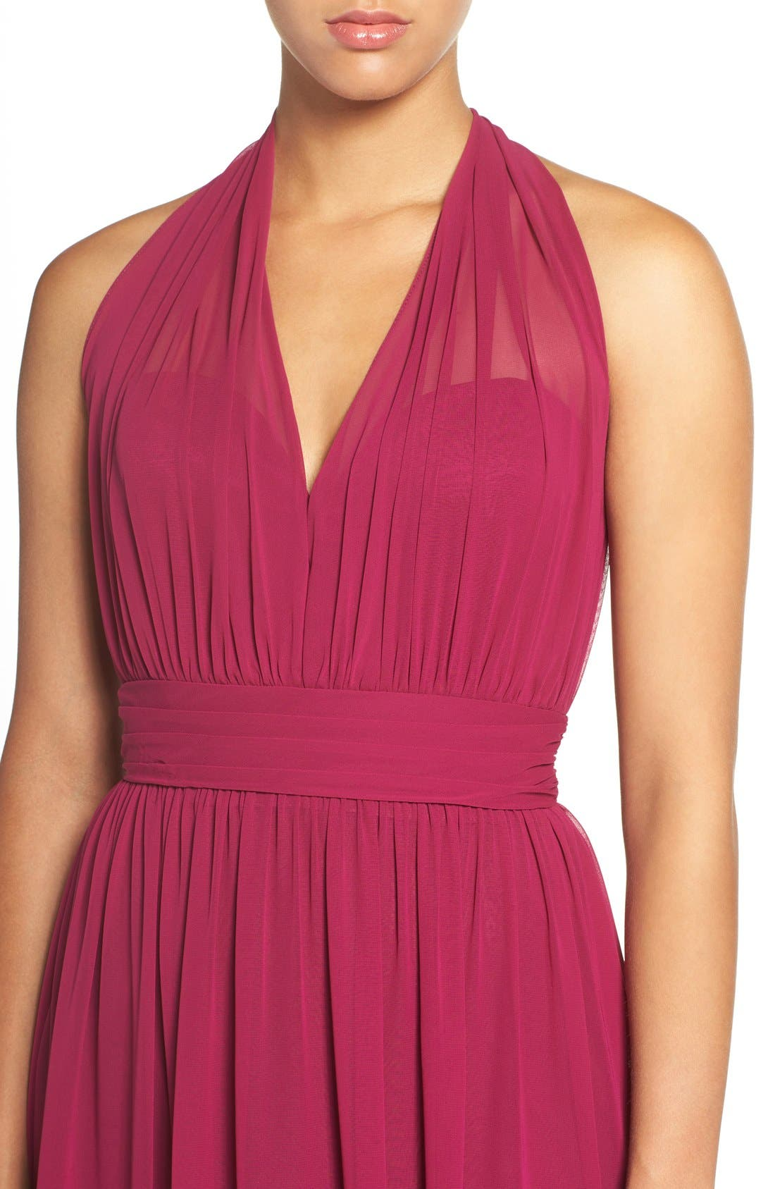Alternate Image 4  - Hayley Paige Occasions Ruched Waist Chiffon Halter Gown