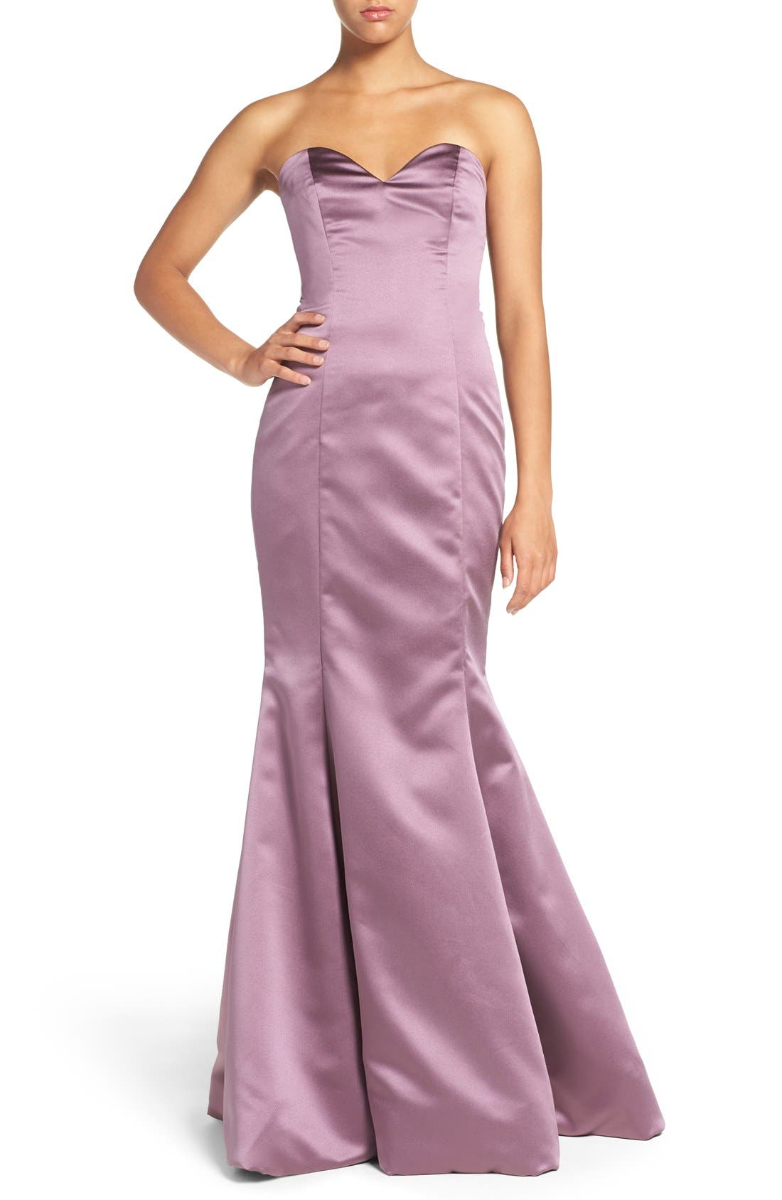Alternate Image 1 Selected - Hayley Paige Occasions Strapless Satin Trumpet Gown