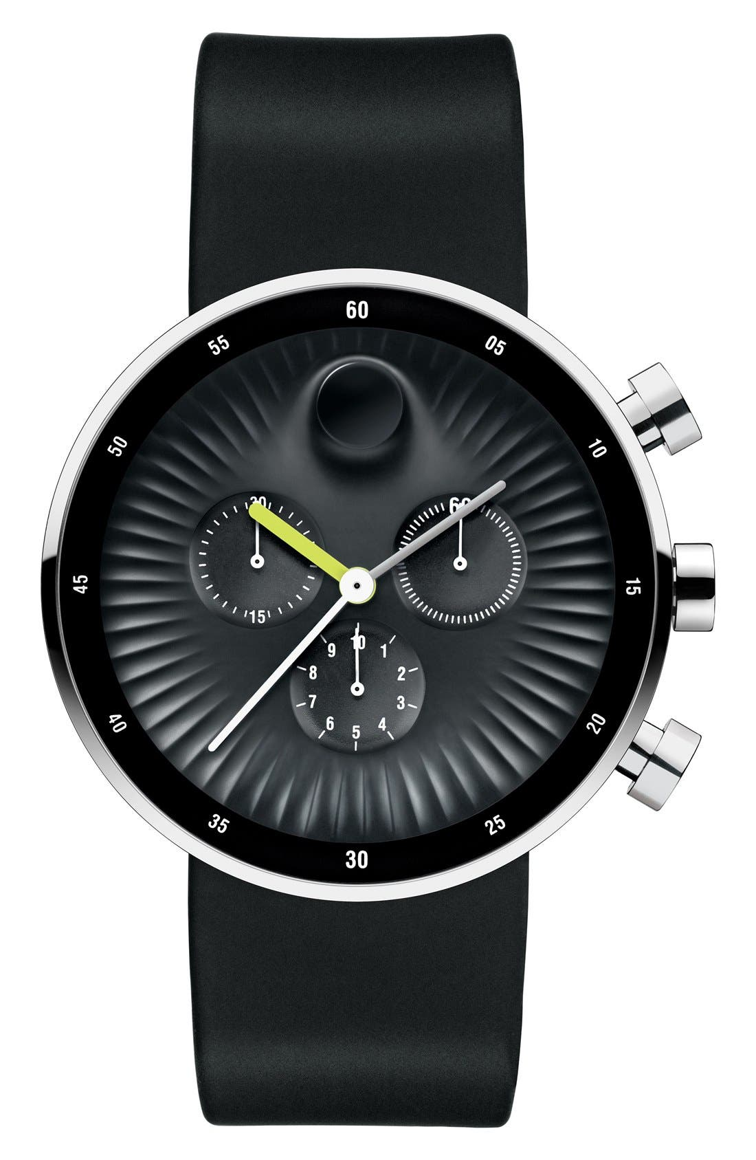 Movado 'Edge' Chronograph Silicone Strap Watch, 42mm